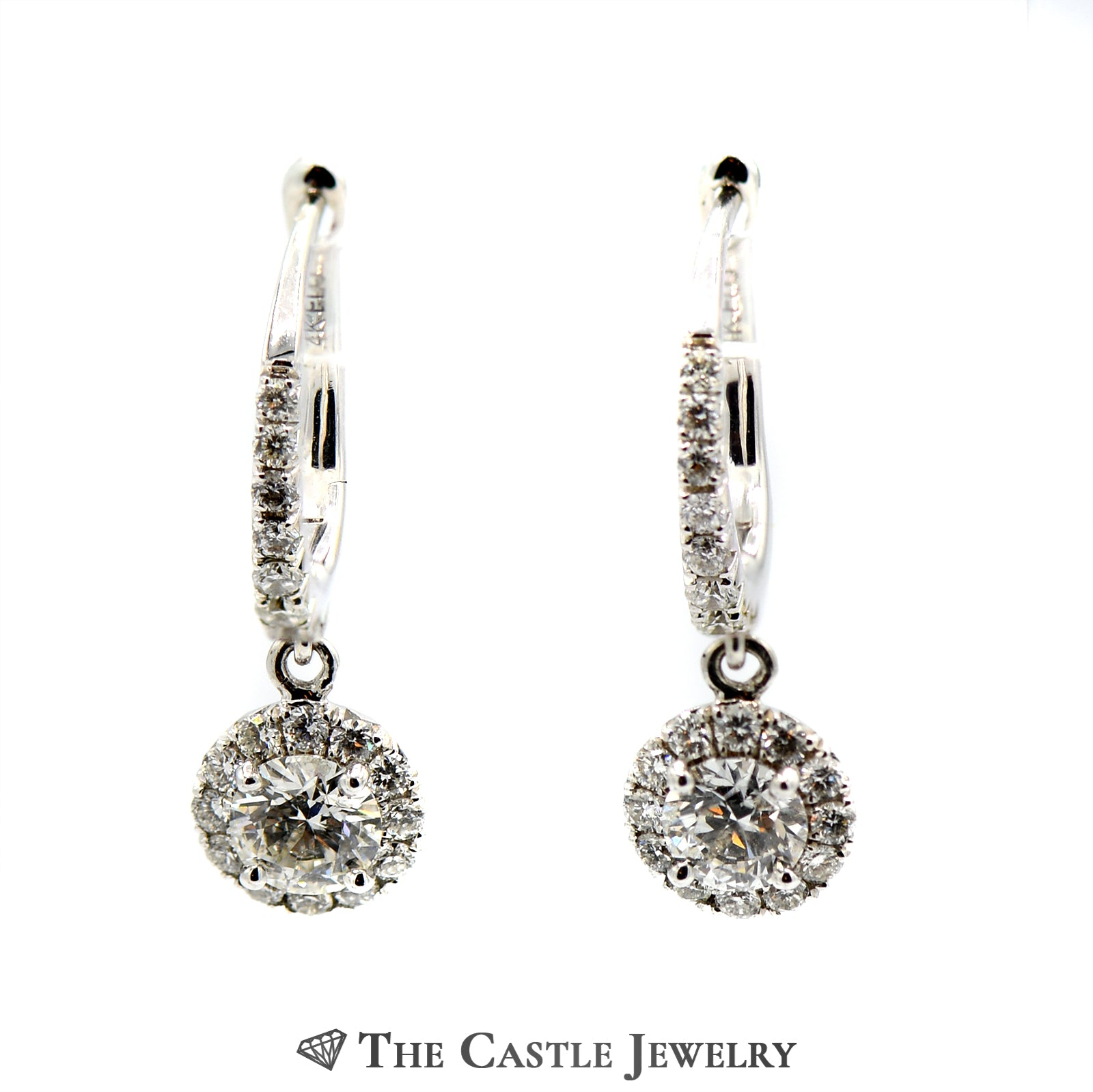Round Diamond Dangle Earrings with Diamond Halo