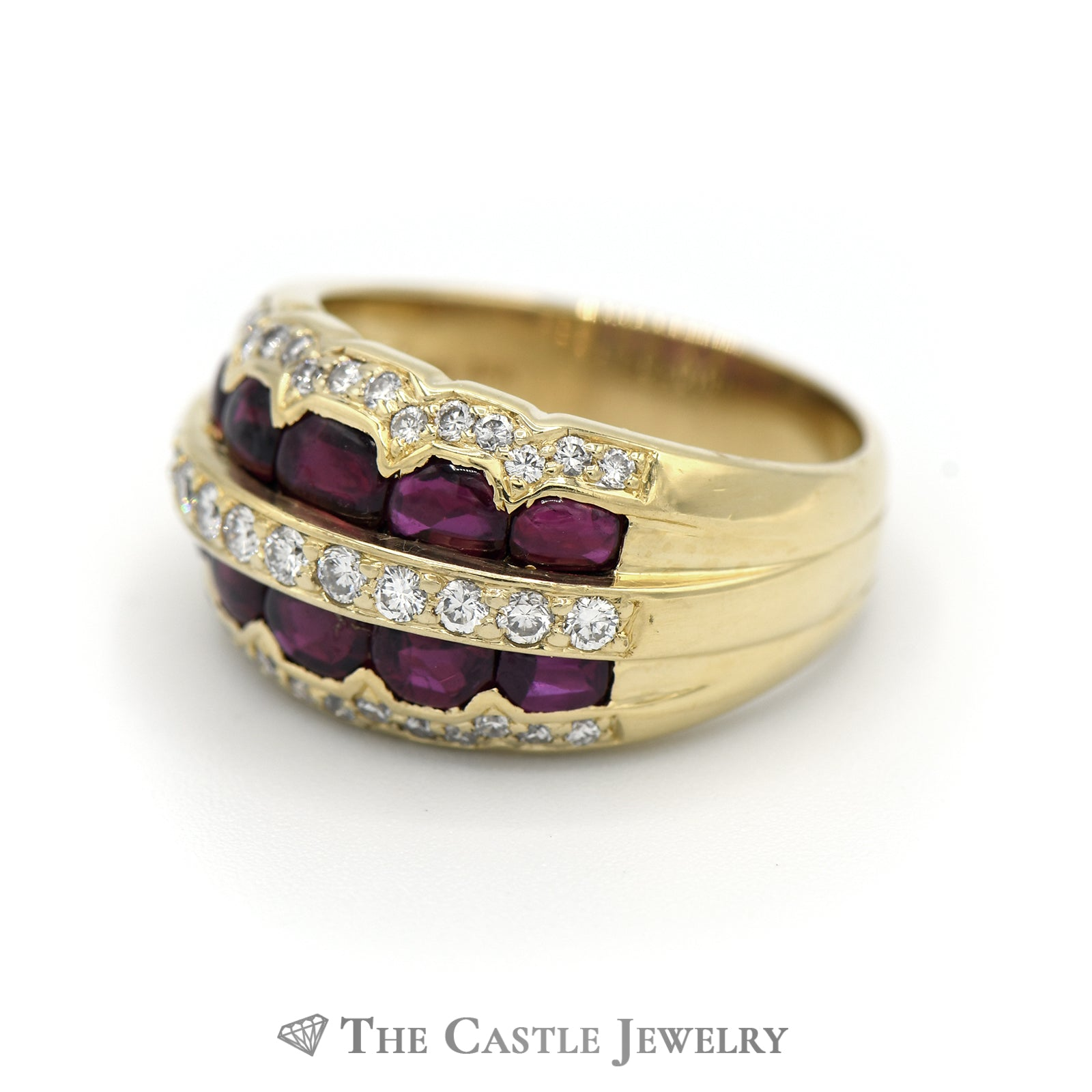 Unique Cabochon Ruby & Diamond Ring In 18K Yellow Gold-2
