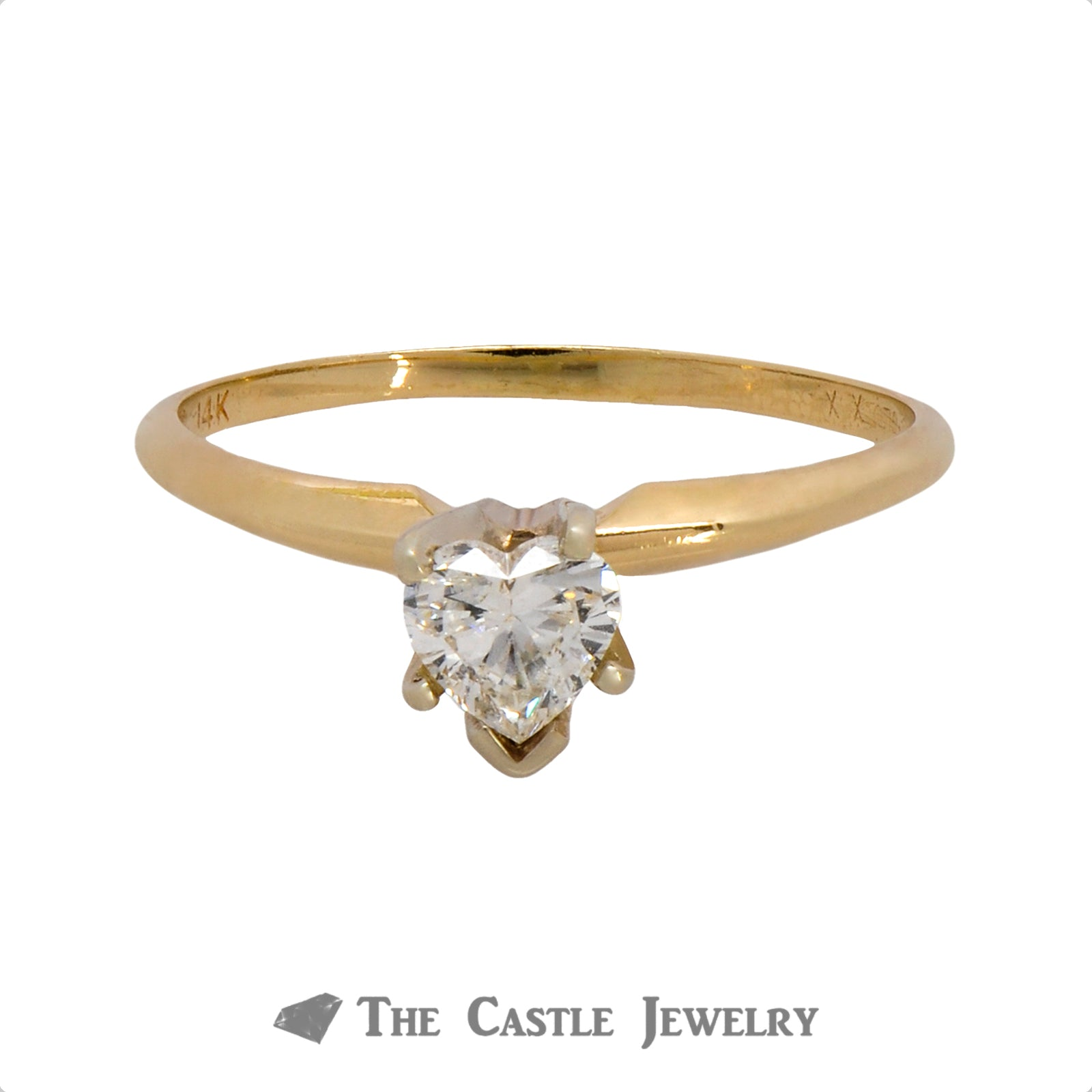 Heart Shaped 1/2 Carat Diamond Solitaire Ring in 14K Gold