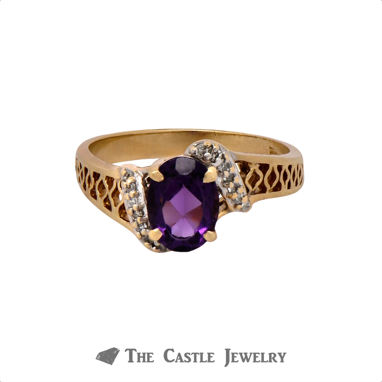 Oval Cut Amethyst Ring with .07cttw Diamond Accents in 10k Yellow Gold Open Filigree Setting