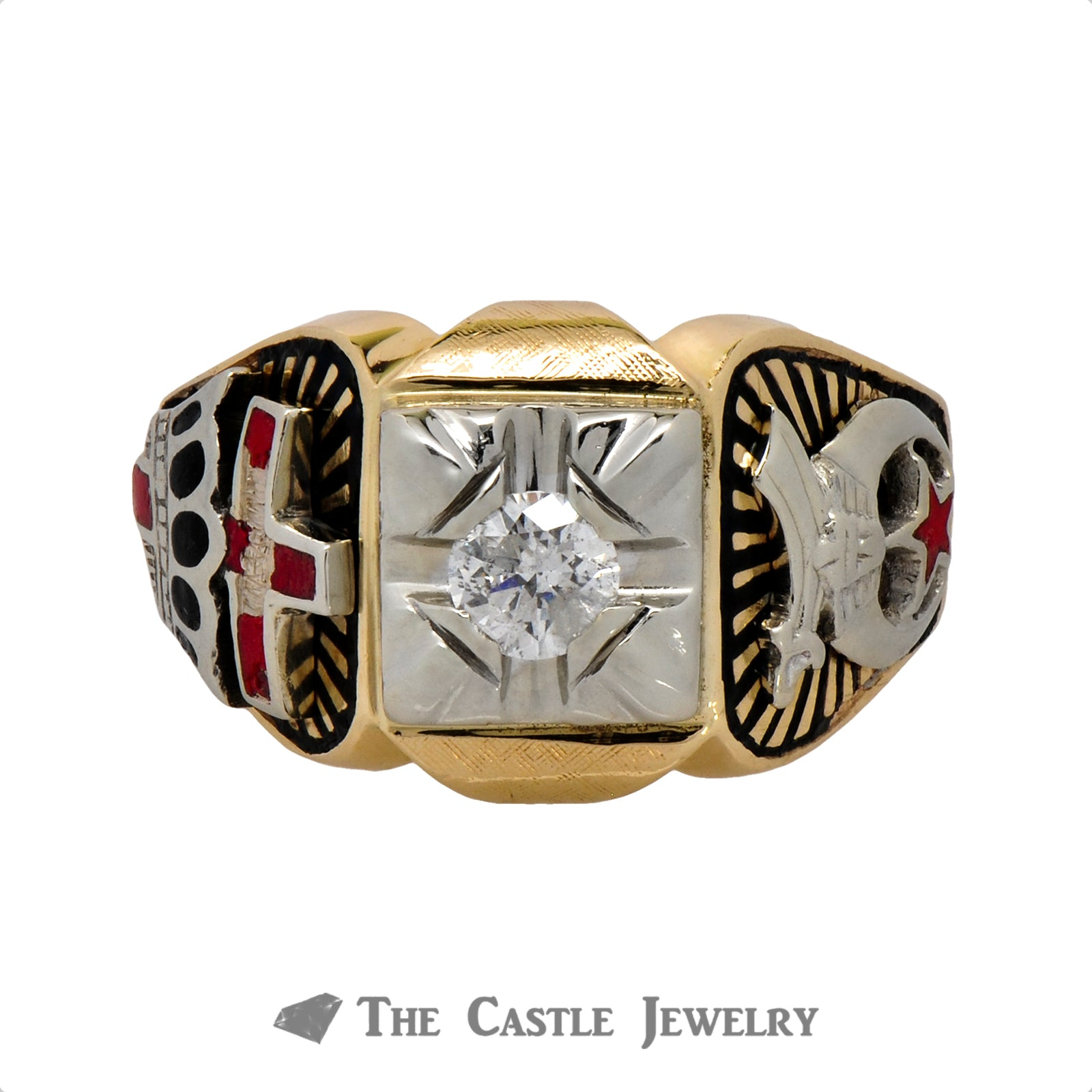 Ancient Order of the Nobles of the Mystic Shrine Ring with Diamond Solitaire