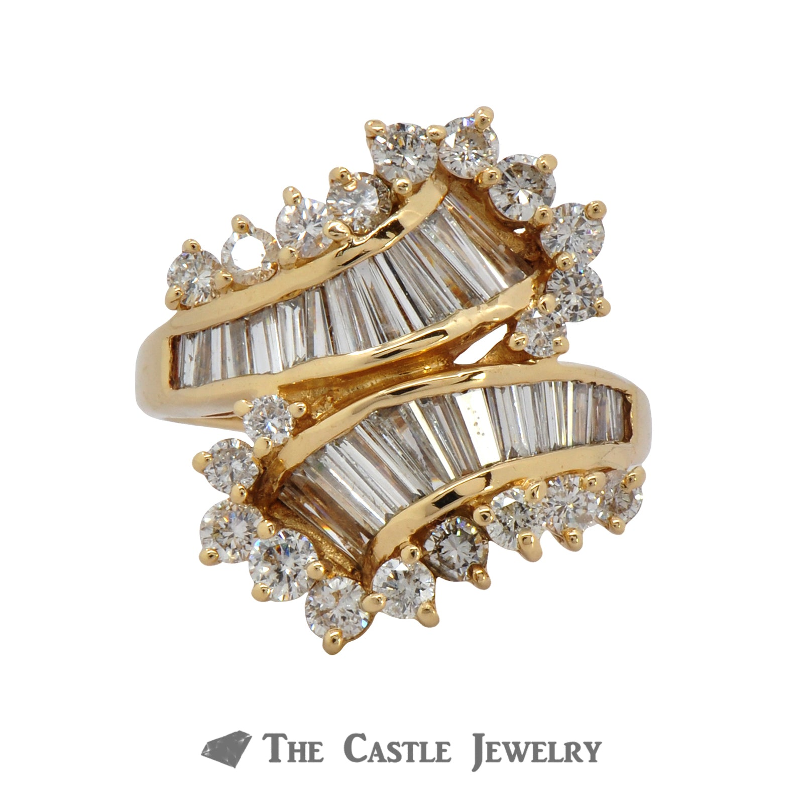 14K Yellow Gold Bypass Ring with Baguette and Round Brilliant Cut Diamonds