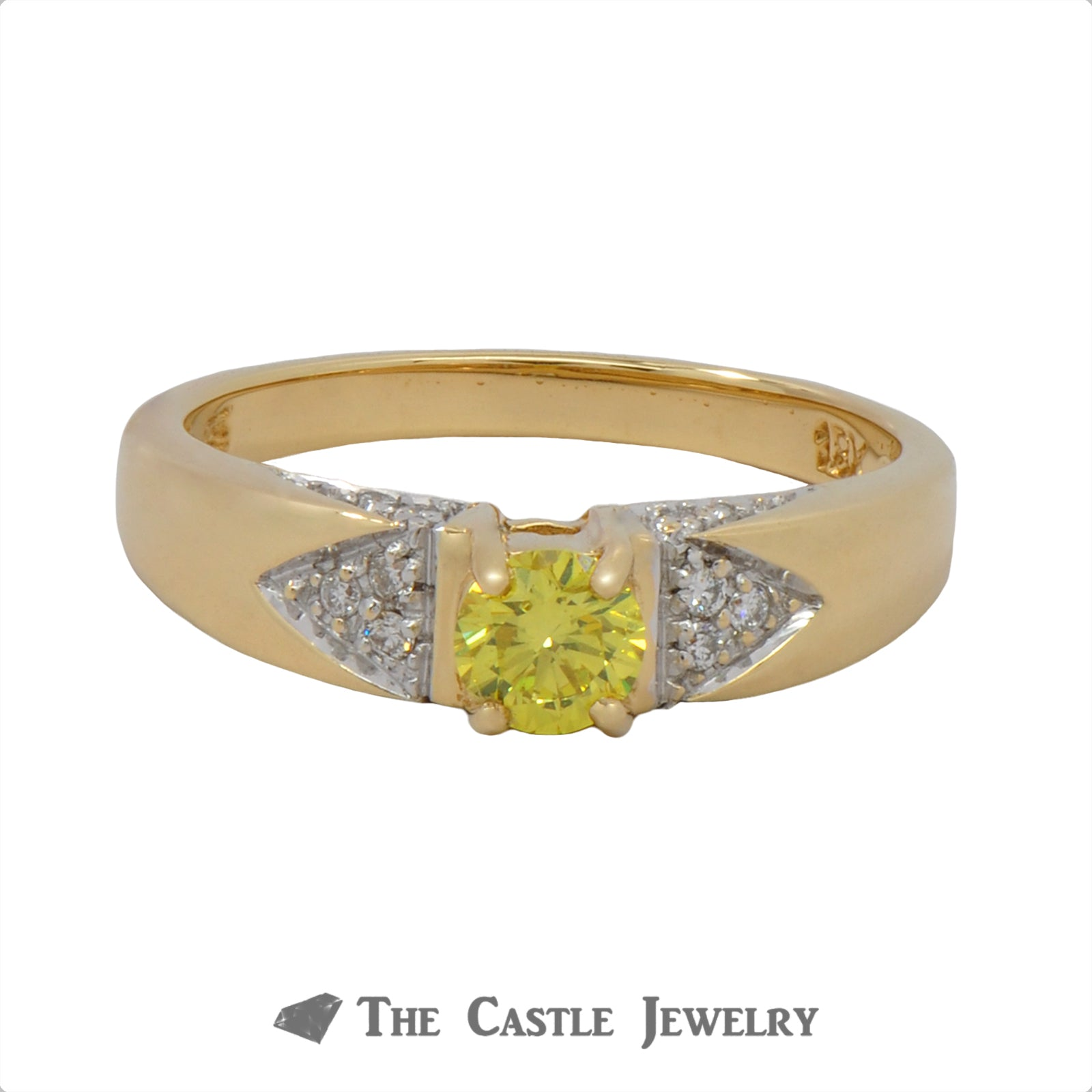 Diamond Engagement Ring With .33 CT Fancy Yellow Diamond .50 CTTW 18K Yellow Gold