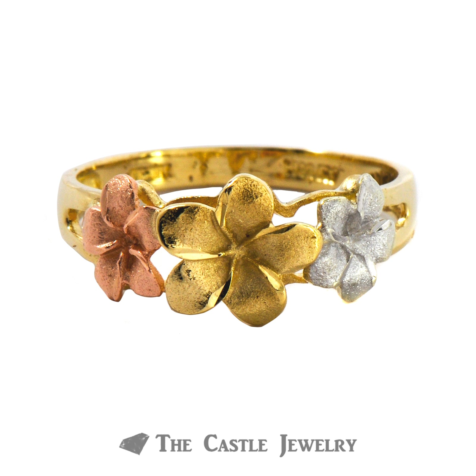 Tri-Gold Flower Ring In 14K White, Yellow, Rose Gold