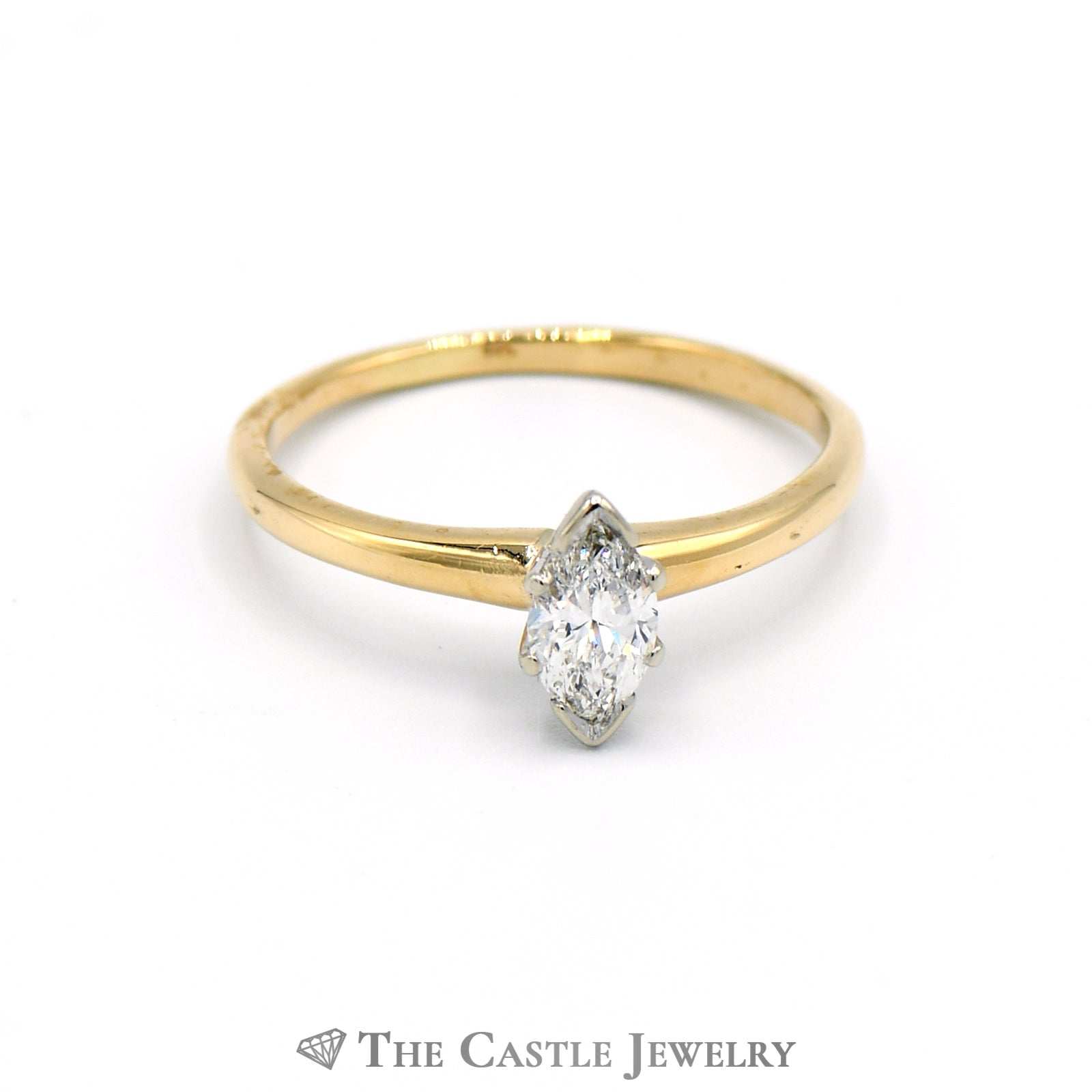 Marquise Cut .45 Carat Solitaire Engagement Ring in 14k Yellow Gold