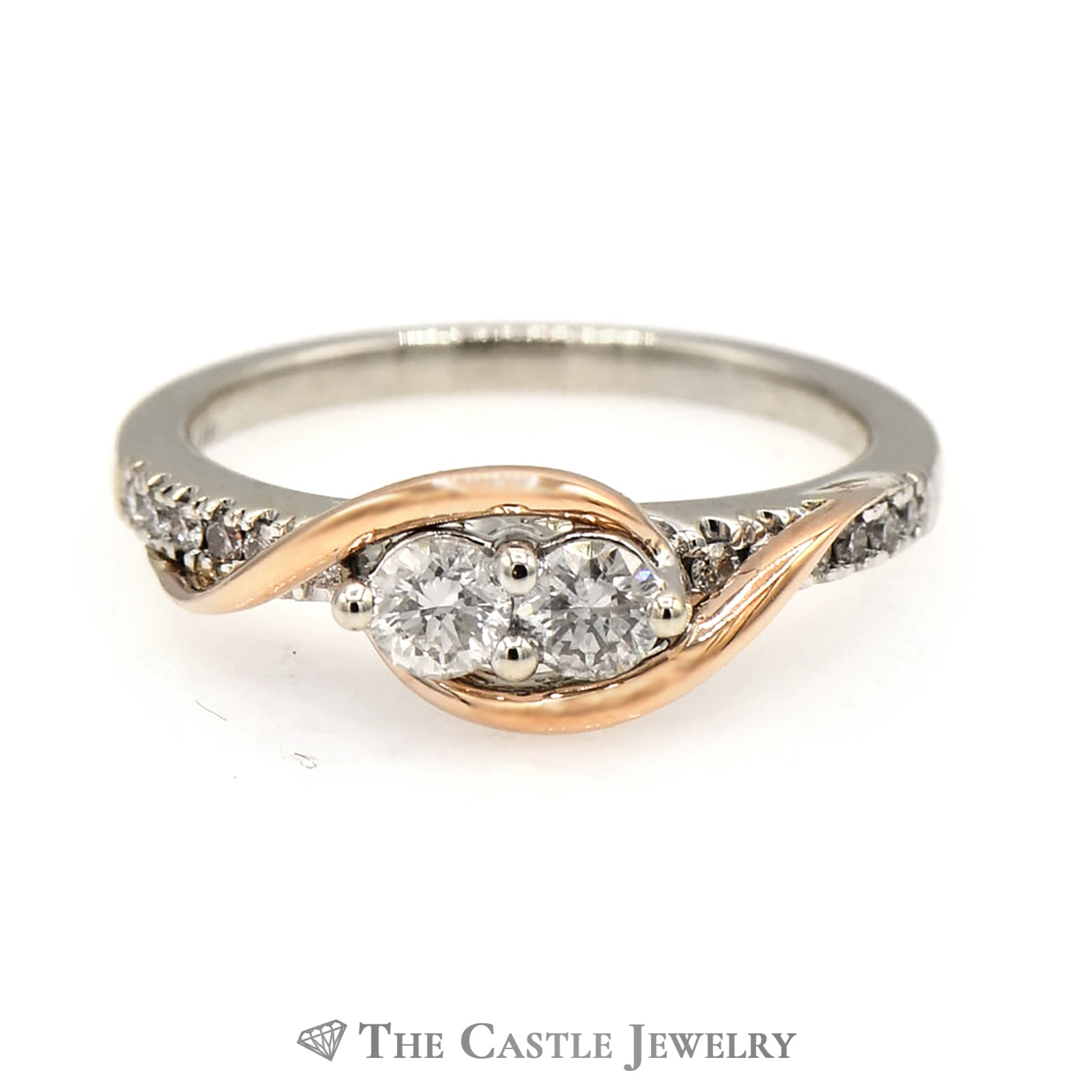 Ever Us 2 Diamond Ring with Rose Gold Accented Diamond Mounting