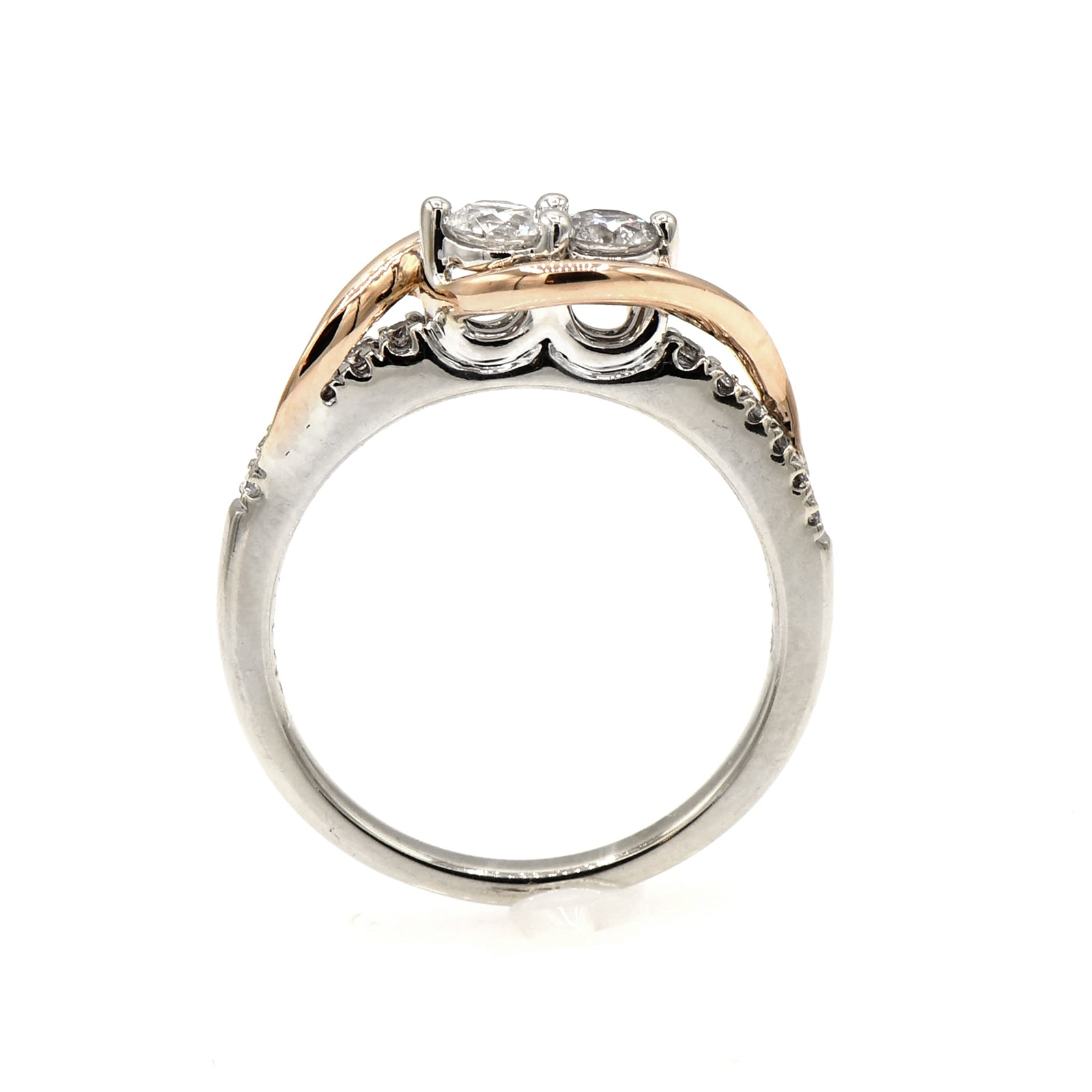 Ever Us 2 Diamond Ring with Rose Gold Accented Diamond Mounting-1