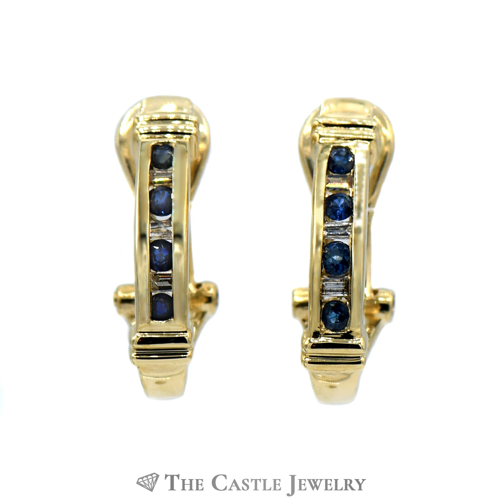 Diamond And Sapphire J Hoop Earrings 10K Yellow Gold-0