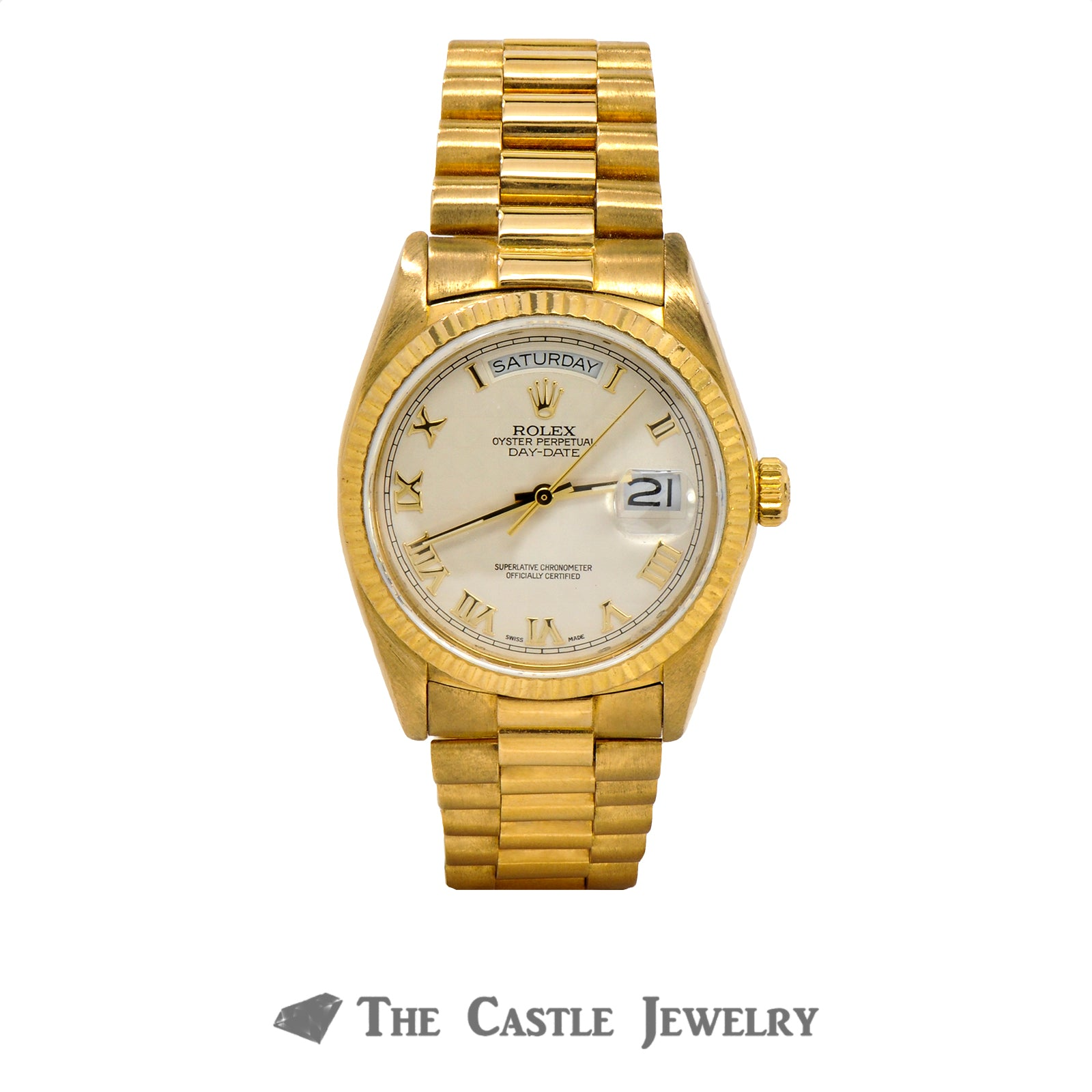 Men's Vintage 36mm 18K Presidential Rolex with Ivory Pyramid Dial & Gold Roman Numerals