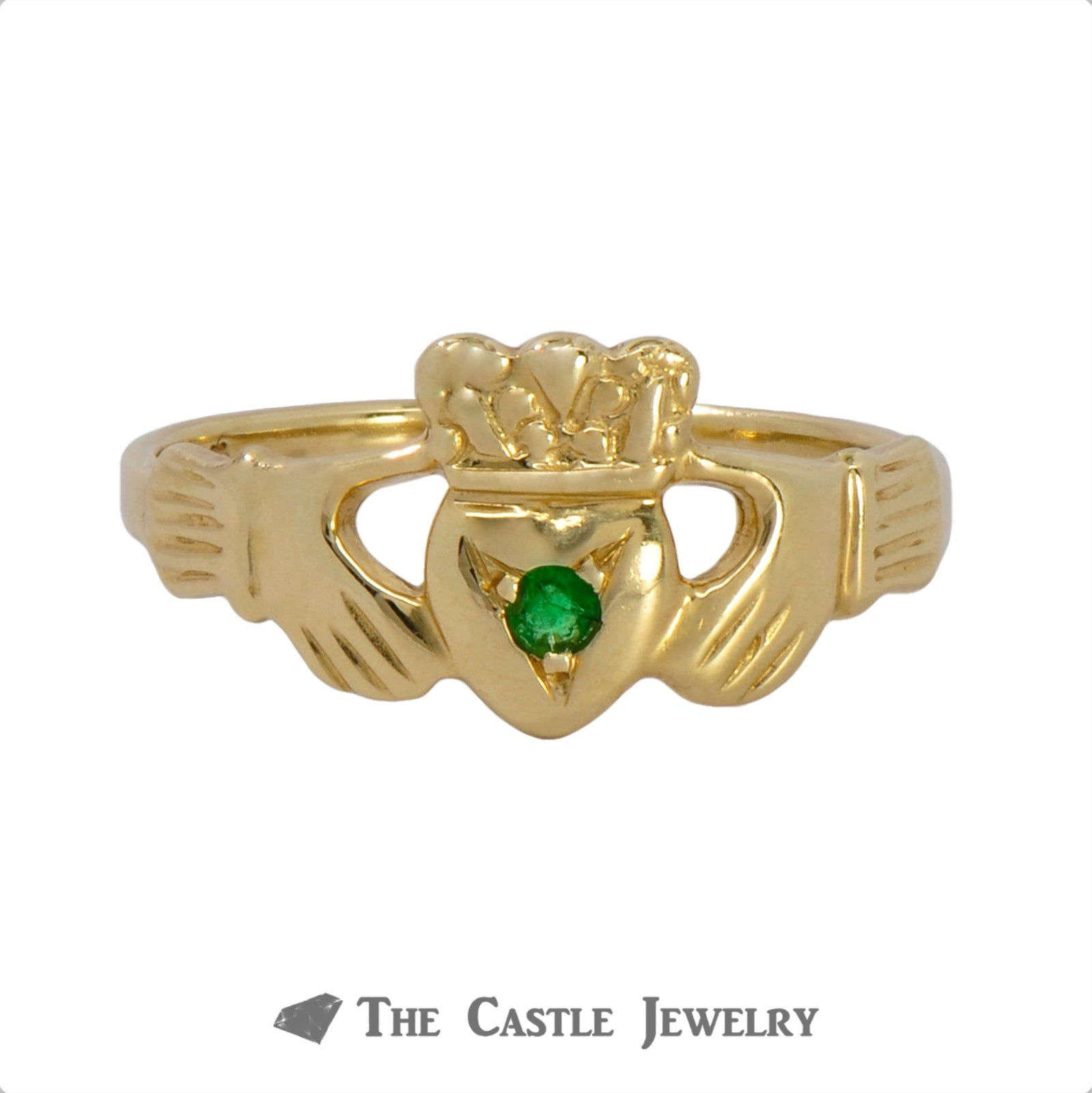 Claddagh Ring with Round Emerald Center Crafted in 14k Yellow Gold