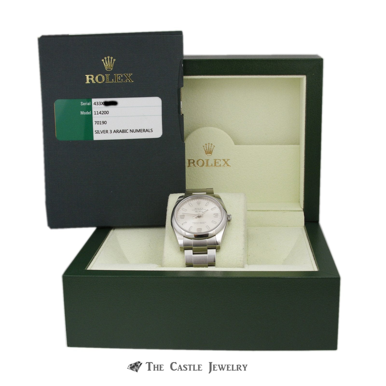 Rolex Air King 34mm Watch All Stainless w/ Silver Arabic Dial and Polished Bezel 114200-7