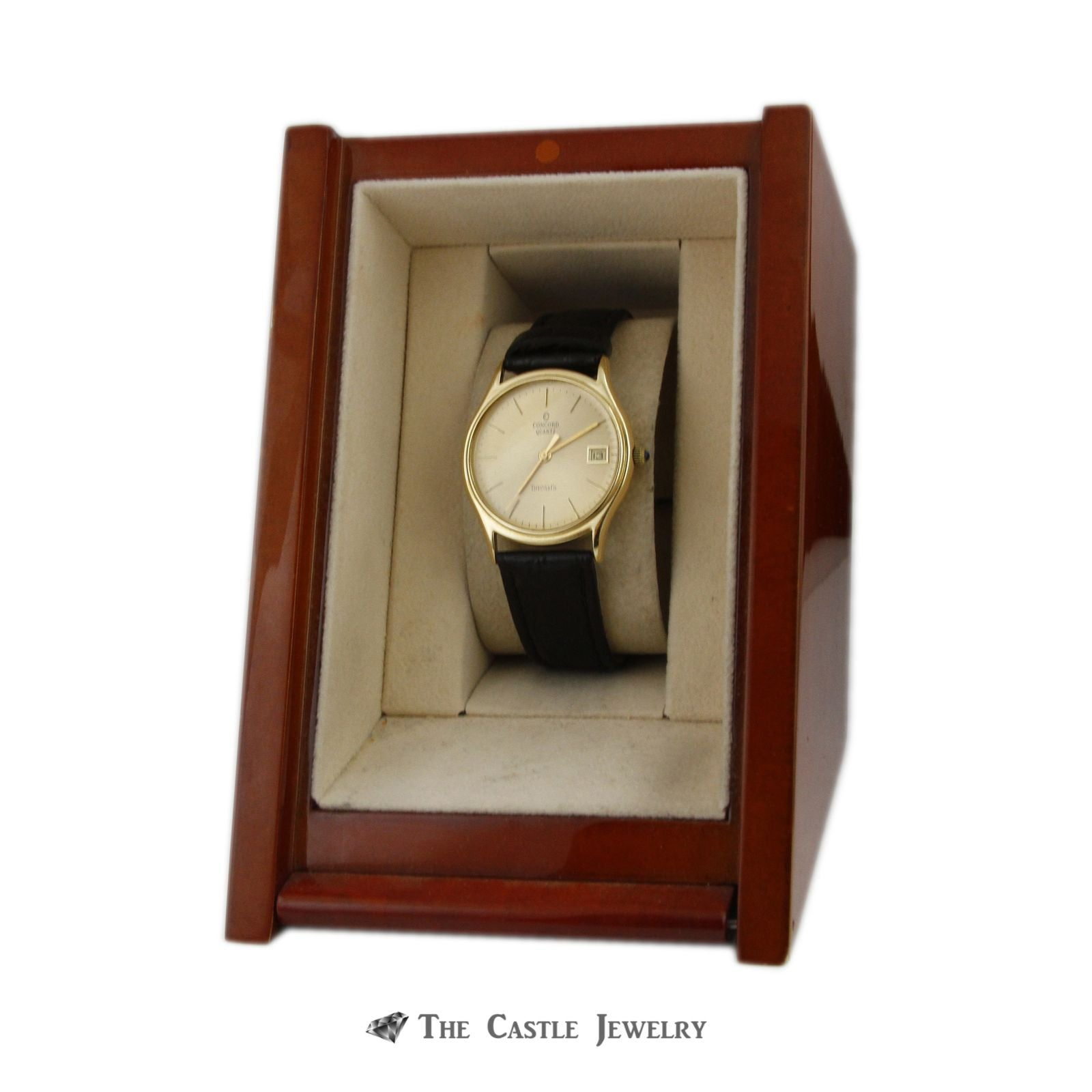 "Tiffany & Co. ""Concord"" Quartz Watch w/ Black Leather Band w/ 14k Yellow Cold Case & Buckle-7"
