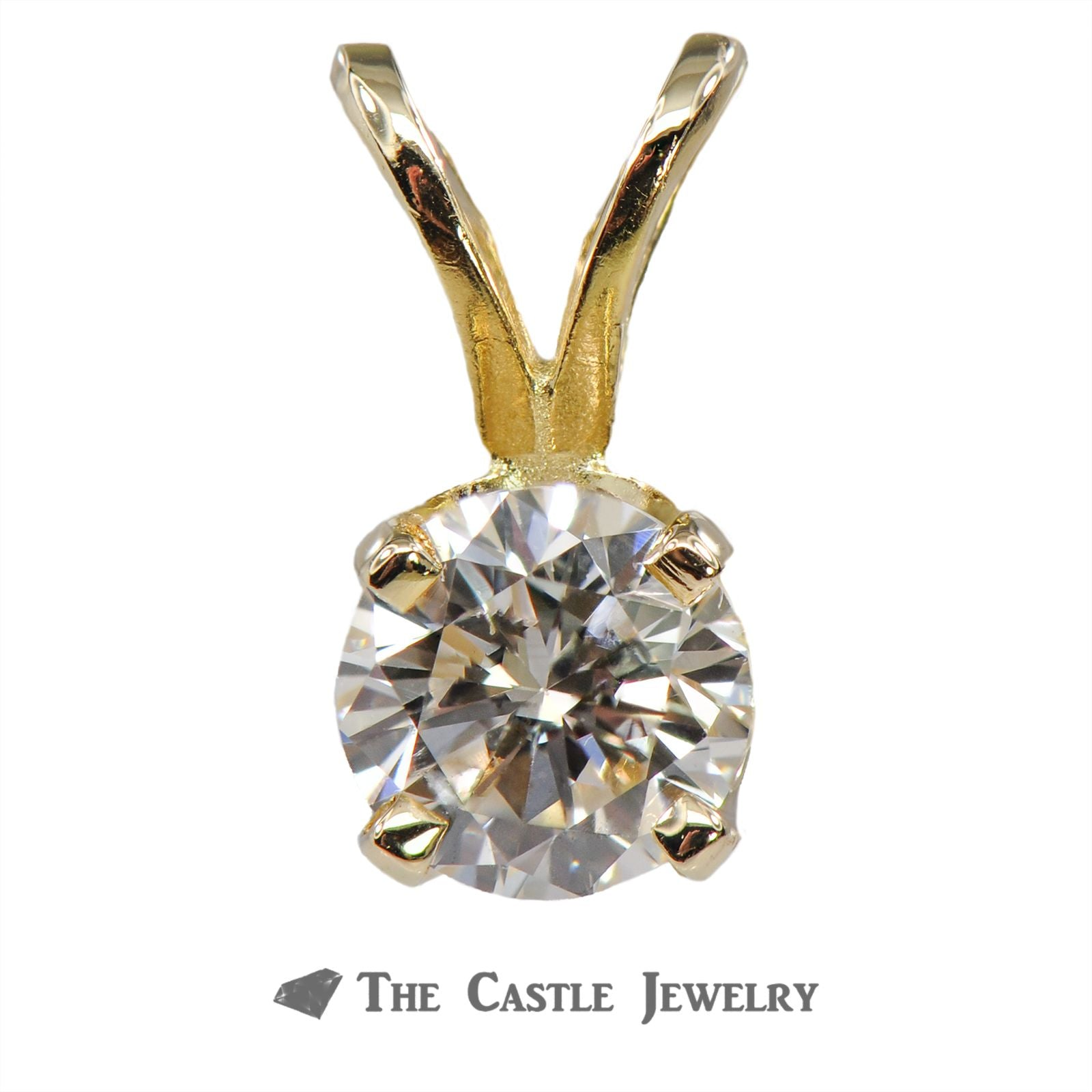 Round Brilliant Cut 1/3 Carat Diamond Solitaire Pendant in 14K Yellow Gold