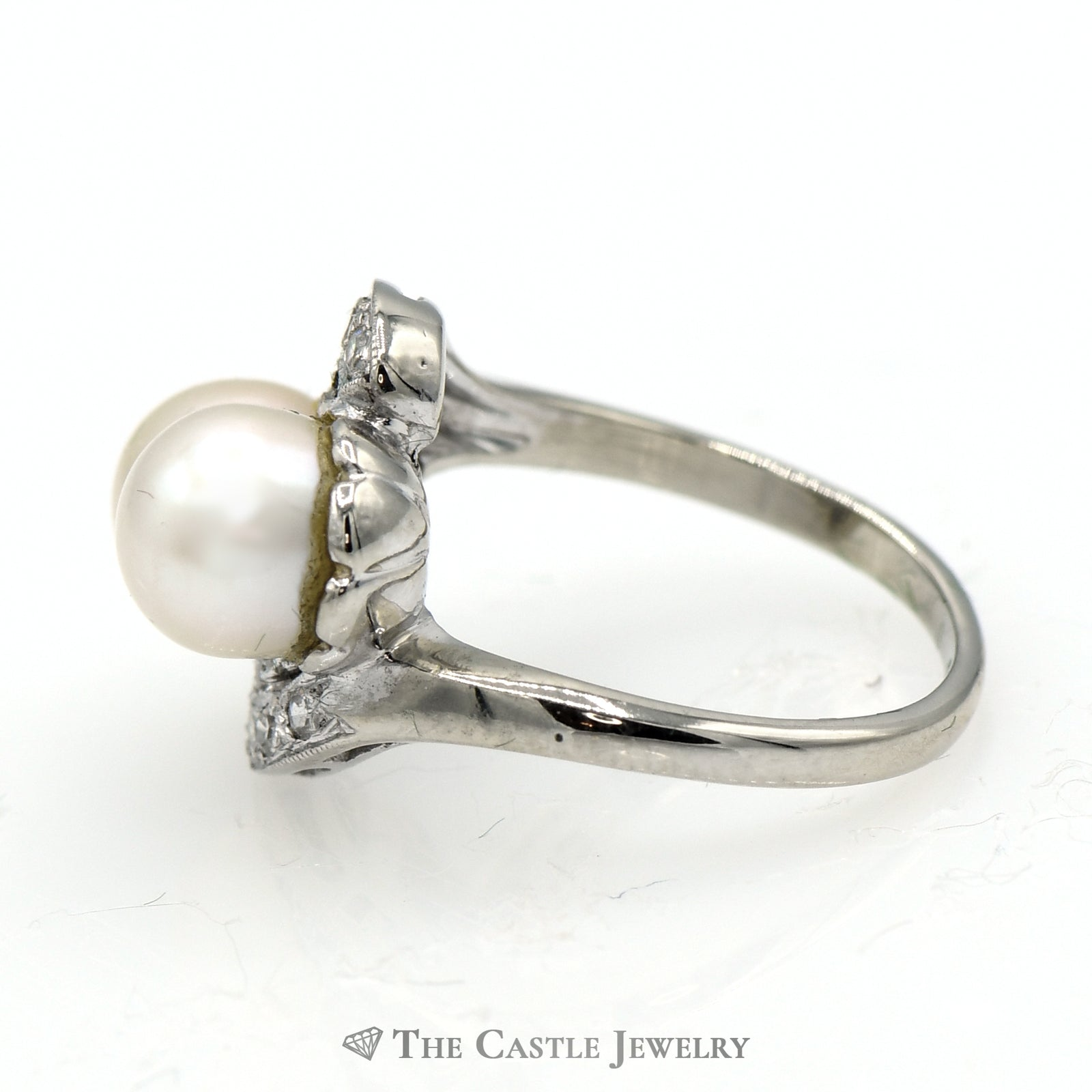 Double Pearl Ring with .15cttw Diamond Accents in 14k White Gold Swirled Mounting-2