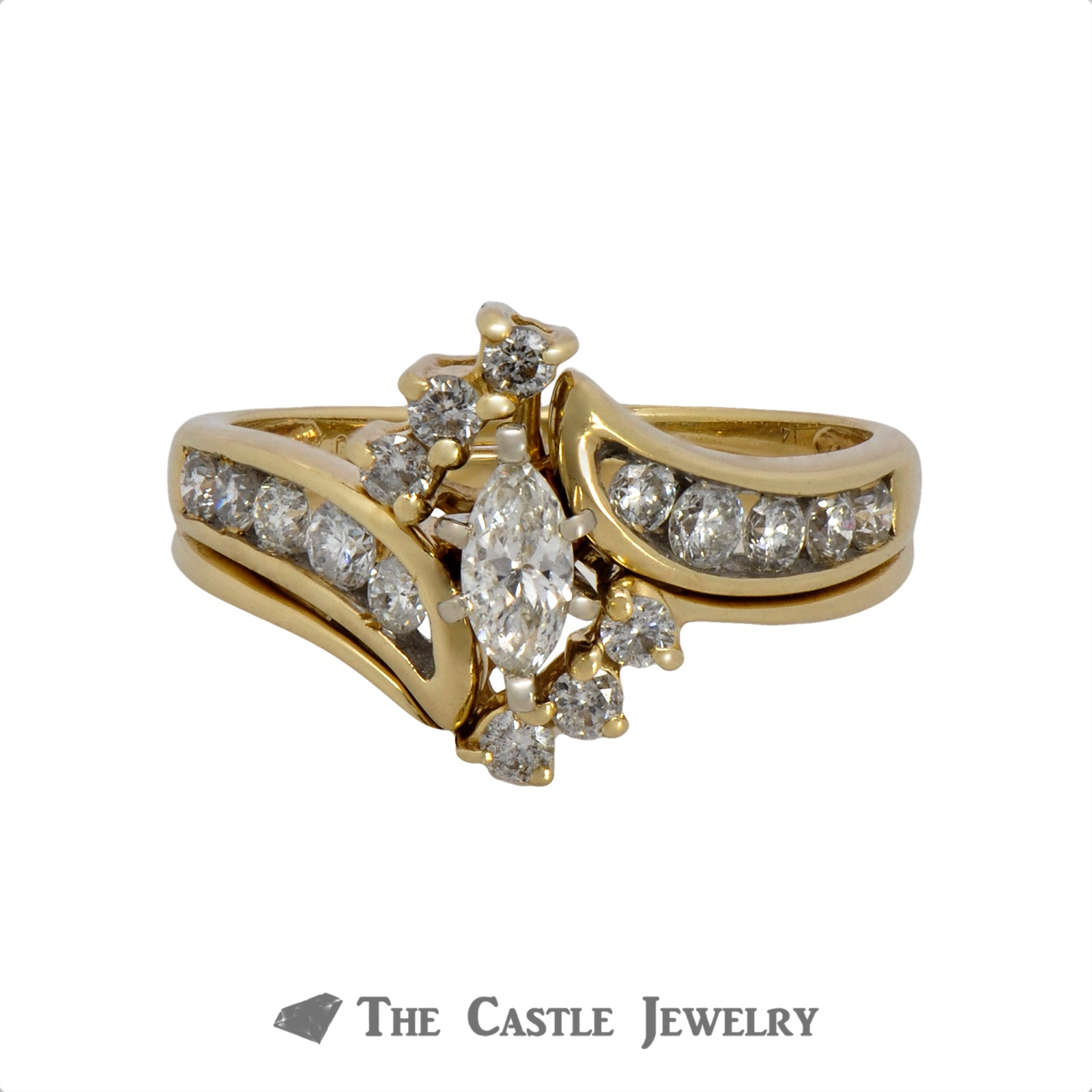 Marquise Cut Diamond Bridal Set with Round Diamond Accents in 14k Yellow Gold
