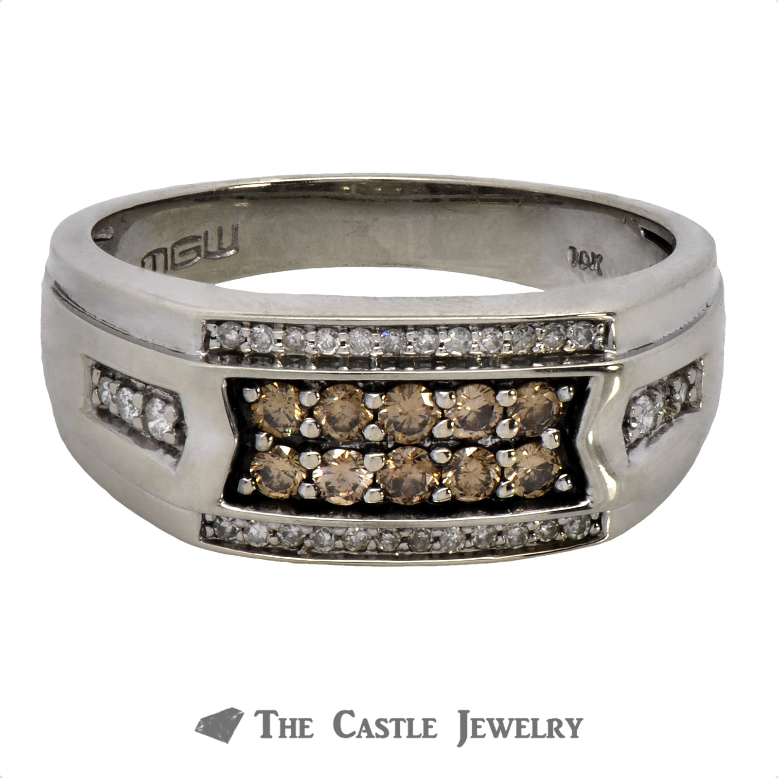 Men's Chocolate Diamond Cluster Ring with White Diamond Accents