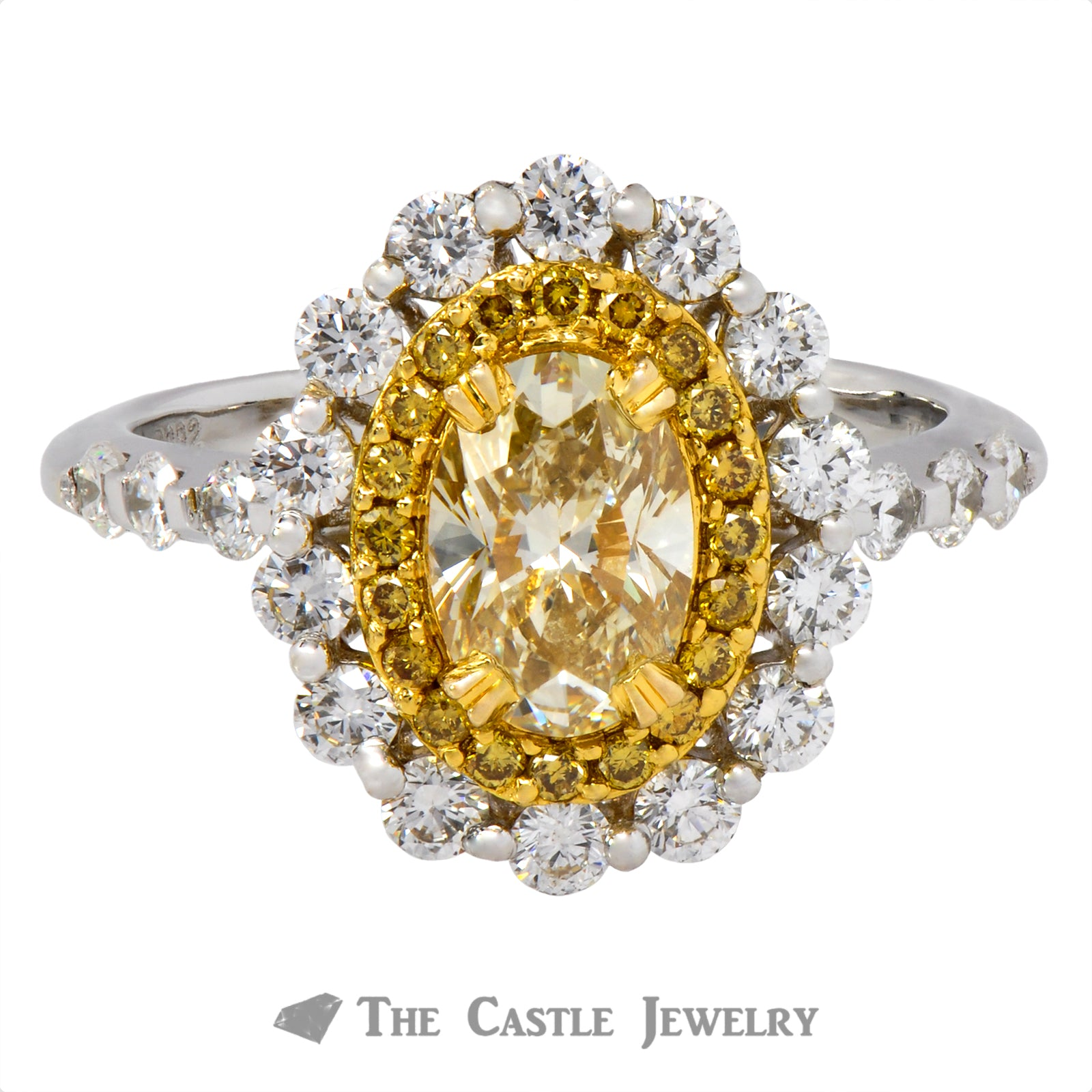Unique Oval Fancy Yellow Diamond Ring