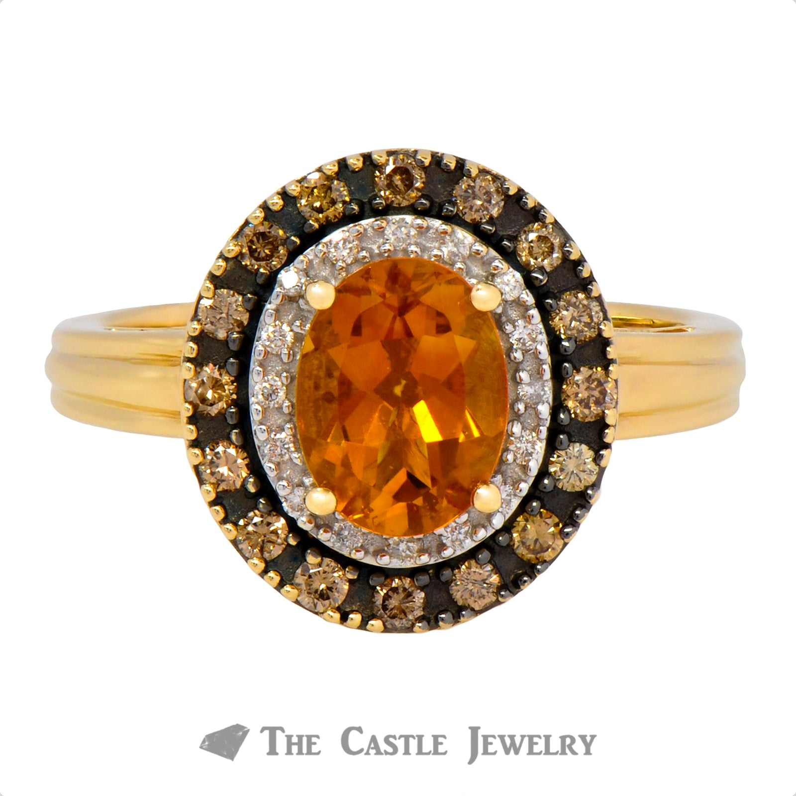 Oval Citrine Double Halo Ring Crafted in 14K Yellow Gold
