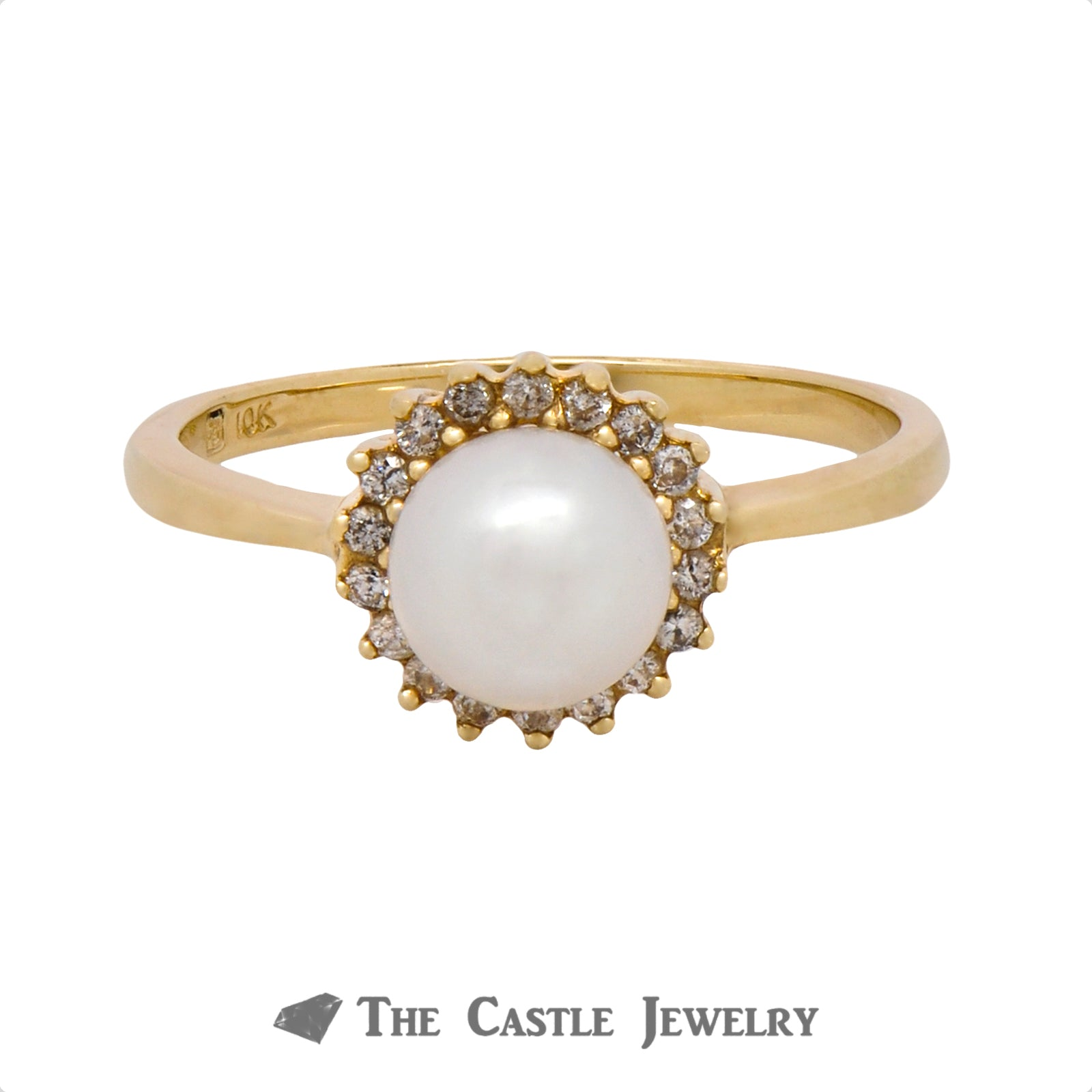 Gorgeous Pearl Ring with .18cttw Diamond Halo Crafted in 10k Yellow Gold