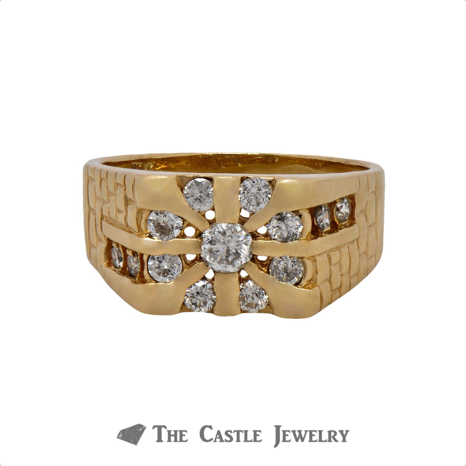 1cttw Gent's Sunburst Style Diamond Ring Crafted in 10k Yellow Gold