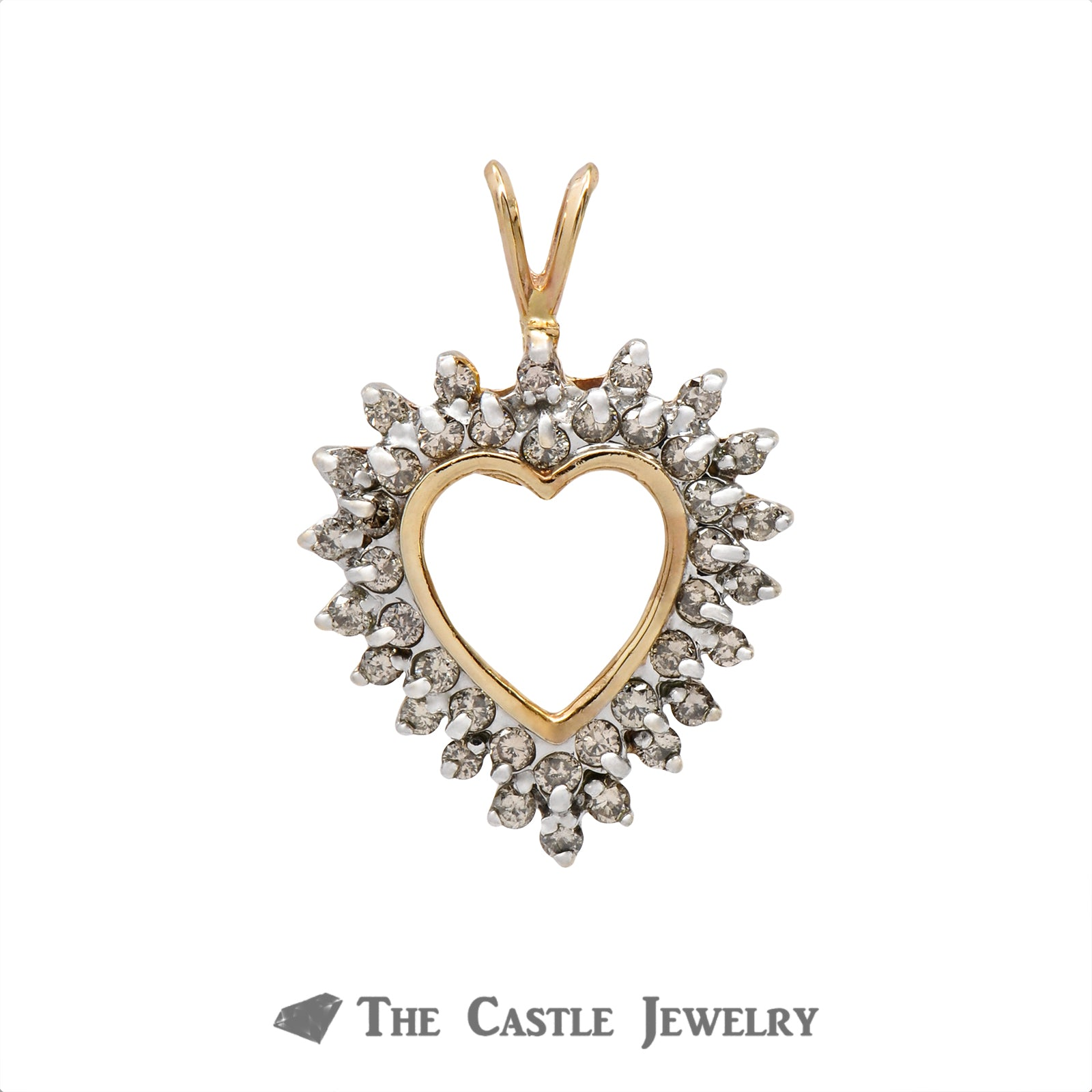 Heart Shaped Pendant Outlined with .75cttw Double Diamond Rows Crafted in 10k Yellow Gold