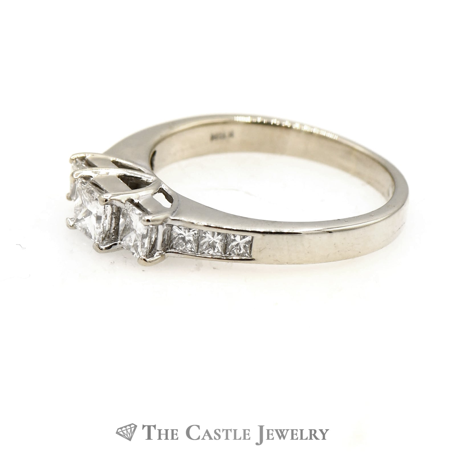 1cttw Princess Cut Debeers Style Diamond Ring with Accents in 14k White Gold-2
