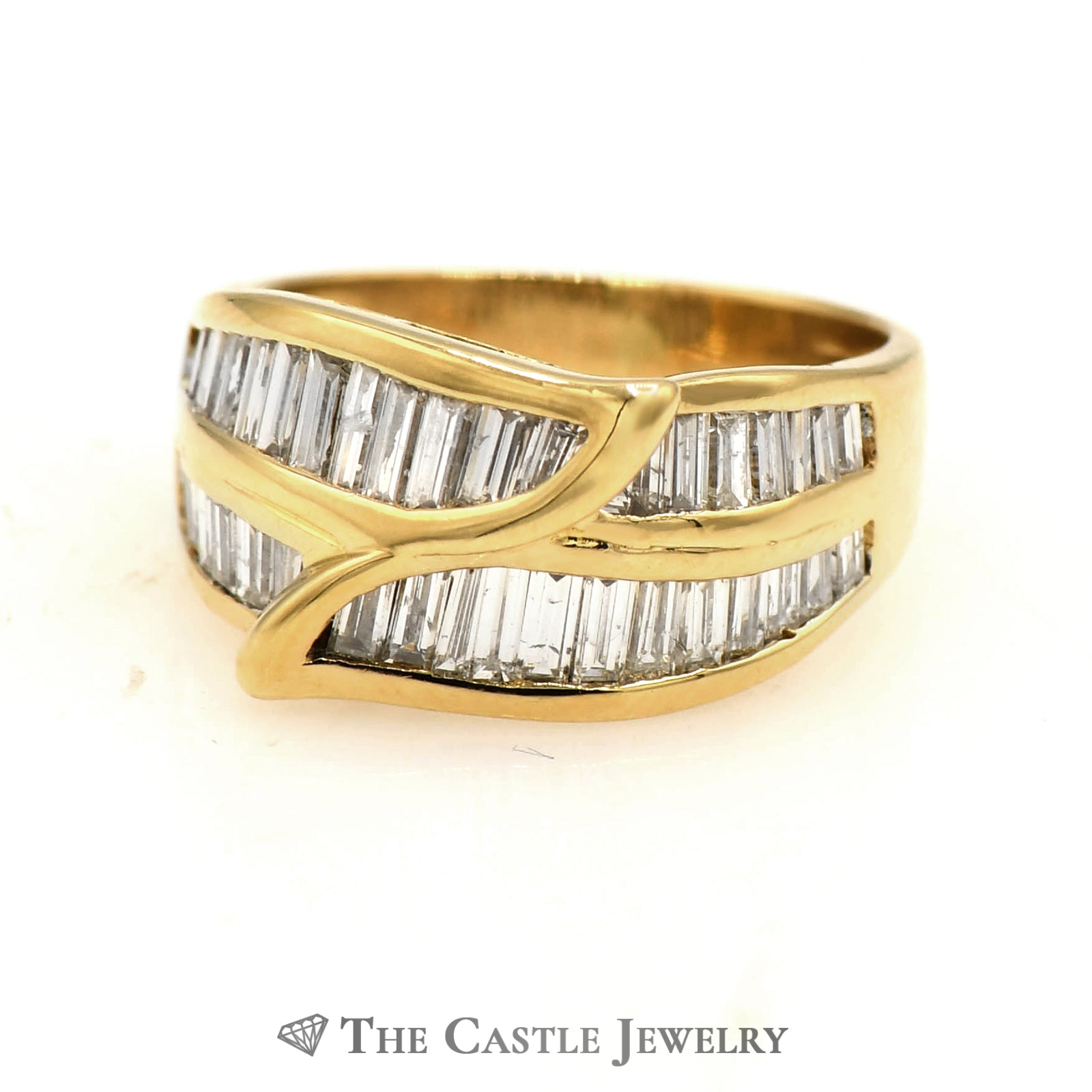 Beautiful Leaf Shaped Channel Set Baguette Cut Diamond Band in 18k Yellow Gold