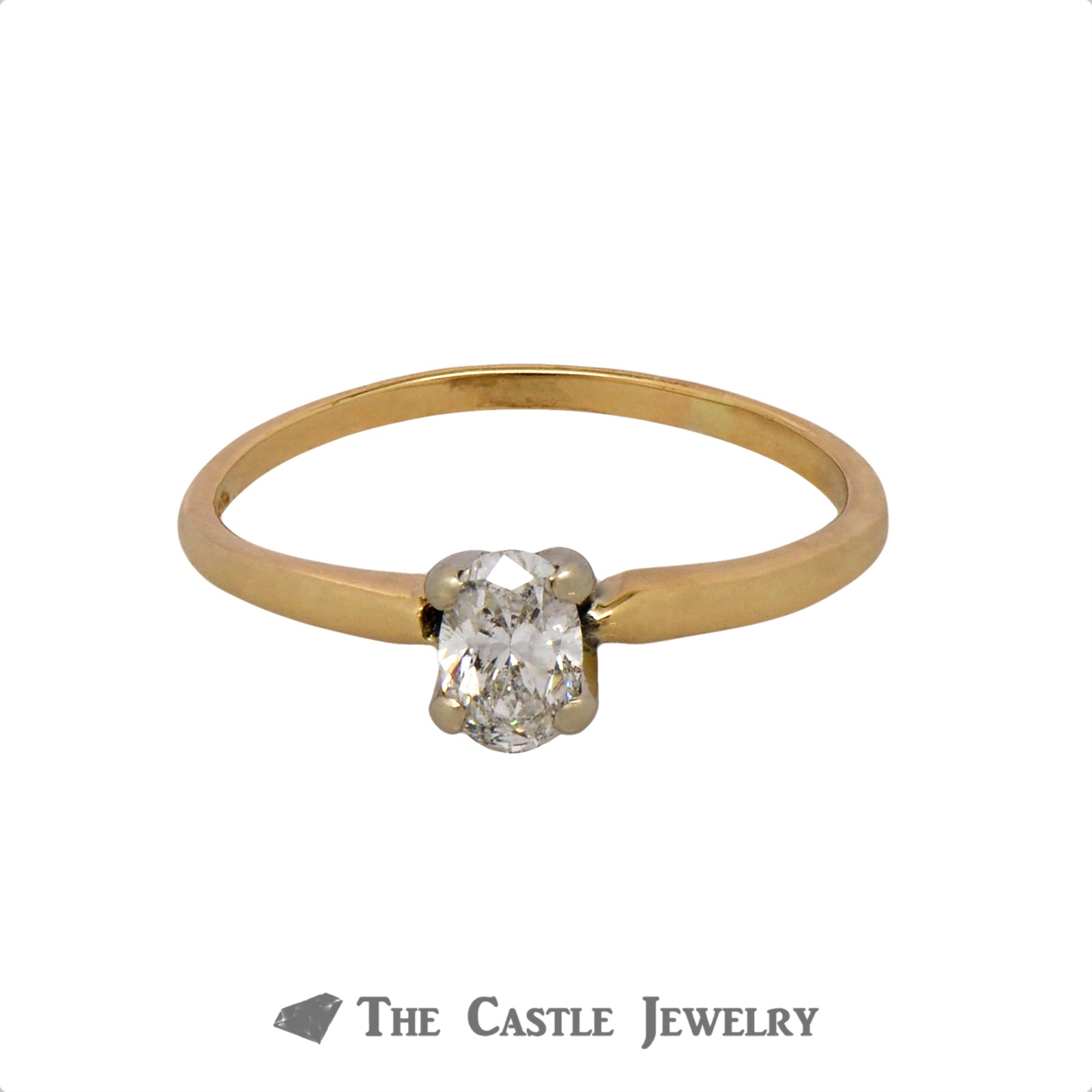 Oval Cut .45ct Diamond Solitaire Engagement Ring in 14k Yellow Gold