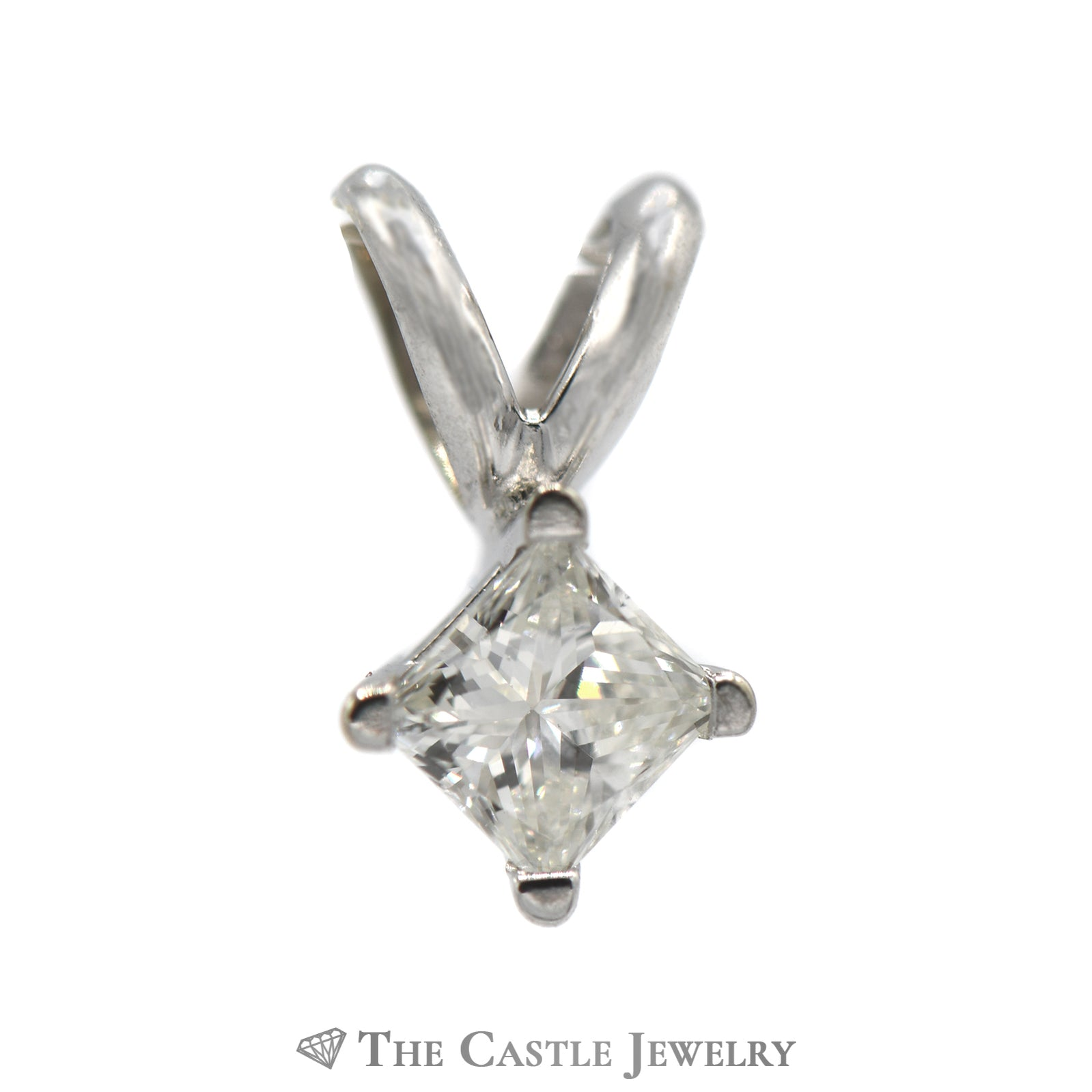 Princess Cut Diamond Solitaire Pendant .20CT In 14KT White Gold