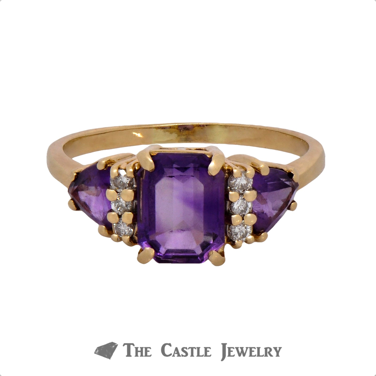 Emerald Cut Amethyst Ring with Trillion Cut Amethyst and Round Diamond Accents in 10k Yellow Gold