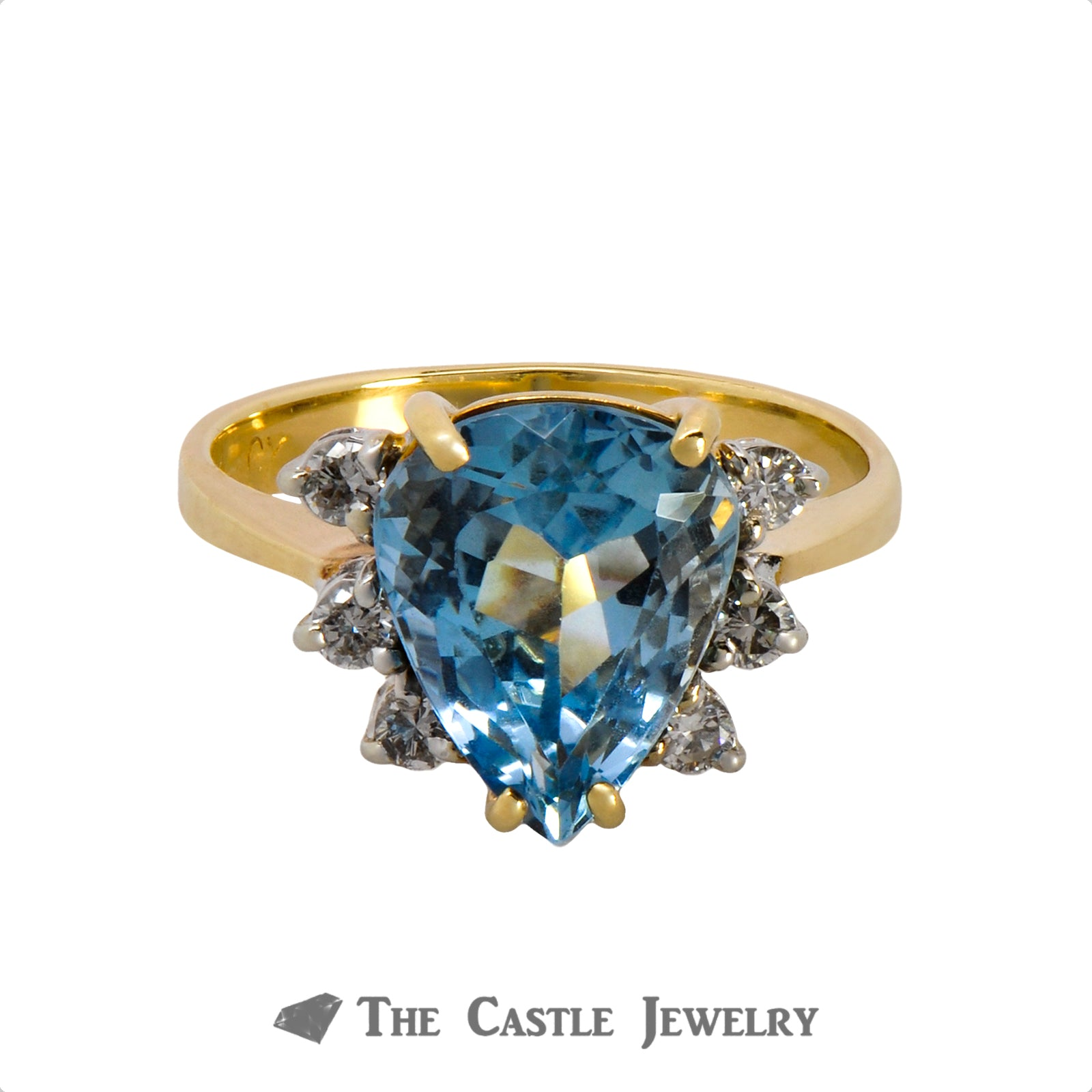 Vibrant Pear Cut Aquamarine Ring with Round Diamond Accents in 18k Yellow Gold