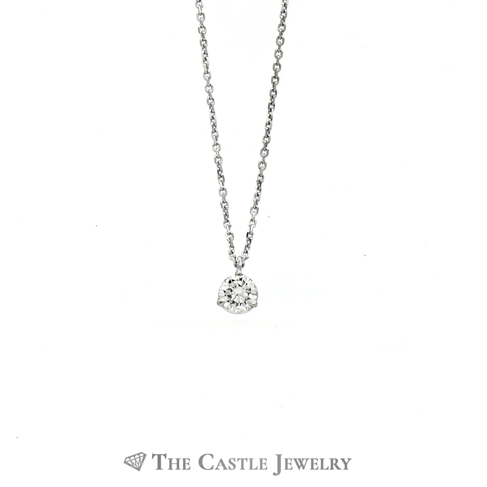Beautiful Diamond Stud Necklace .35ct Round In 14K White Gold-1