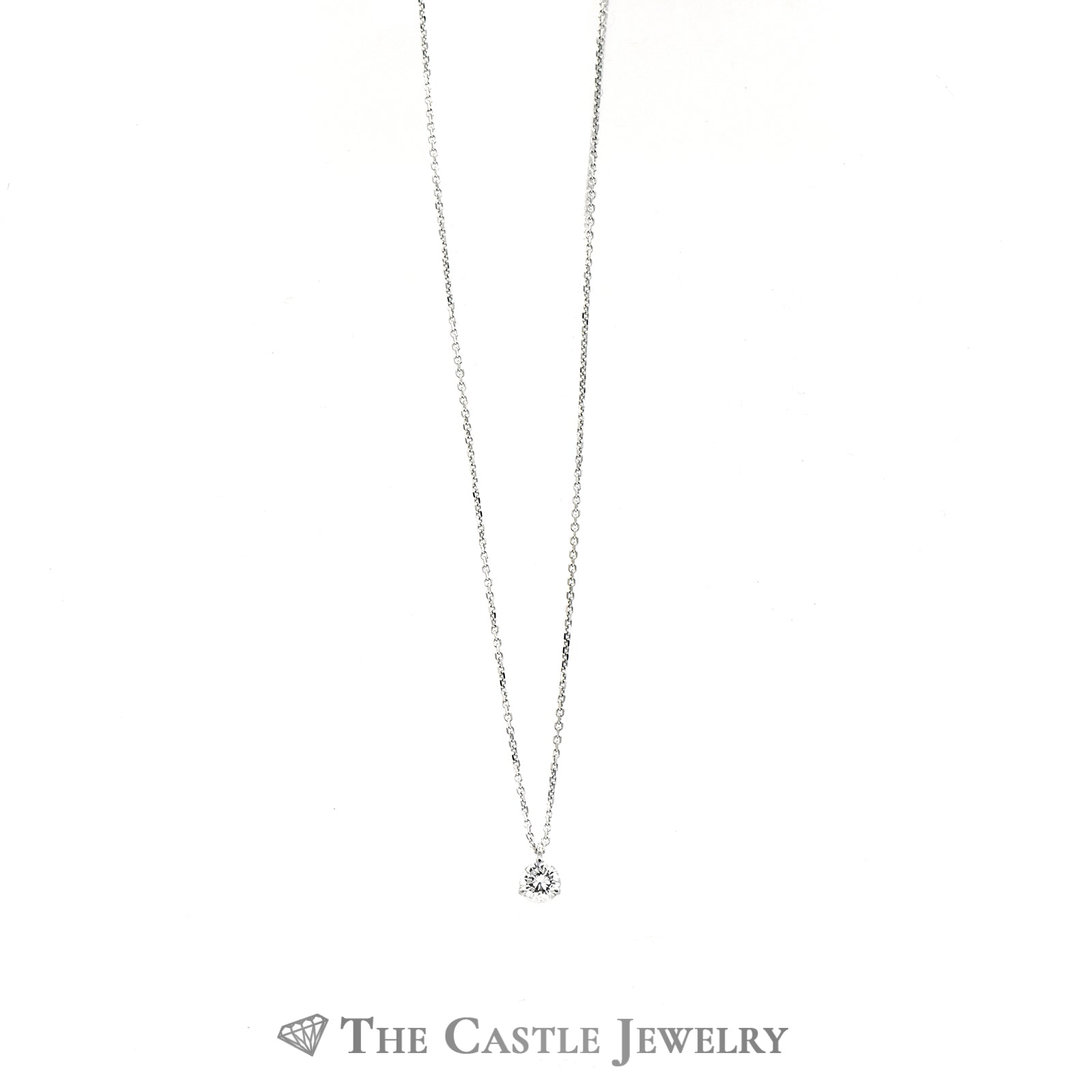 Beautiful Diamond Stud Necklace .35ct Round In 14K White Gold