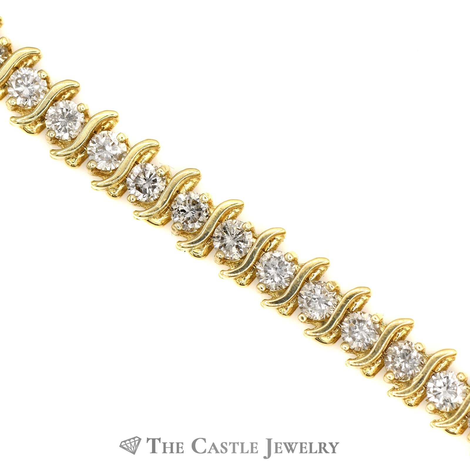 6 3/4 Inch 7.75cttw Diamond S Link Tennis Bracelet in 14k Yellow Gold