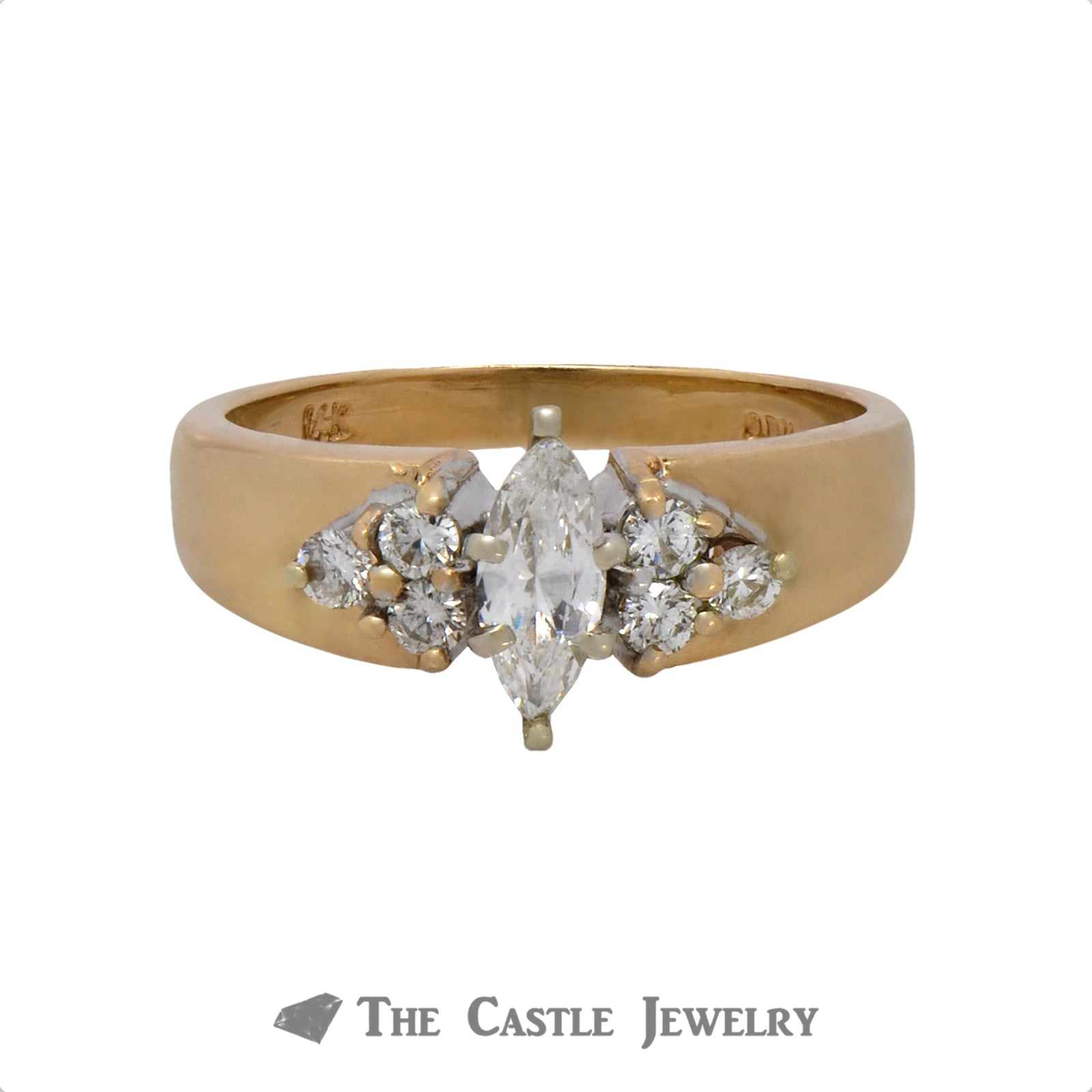 Marquise Cut Diamond Engagement Ring with Round Diamond Accents in 14k Yellow Gold