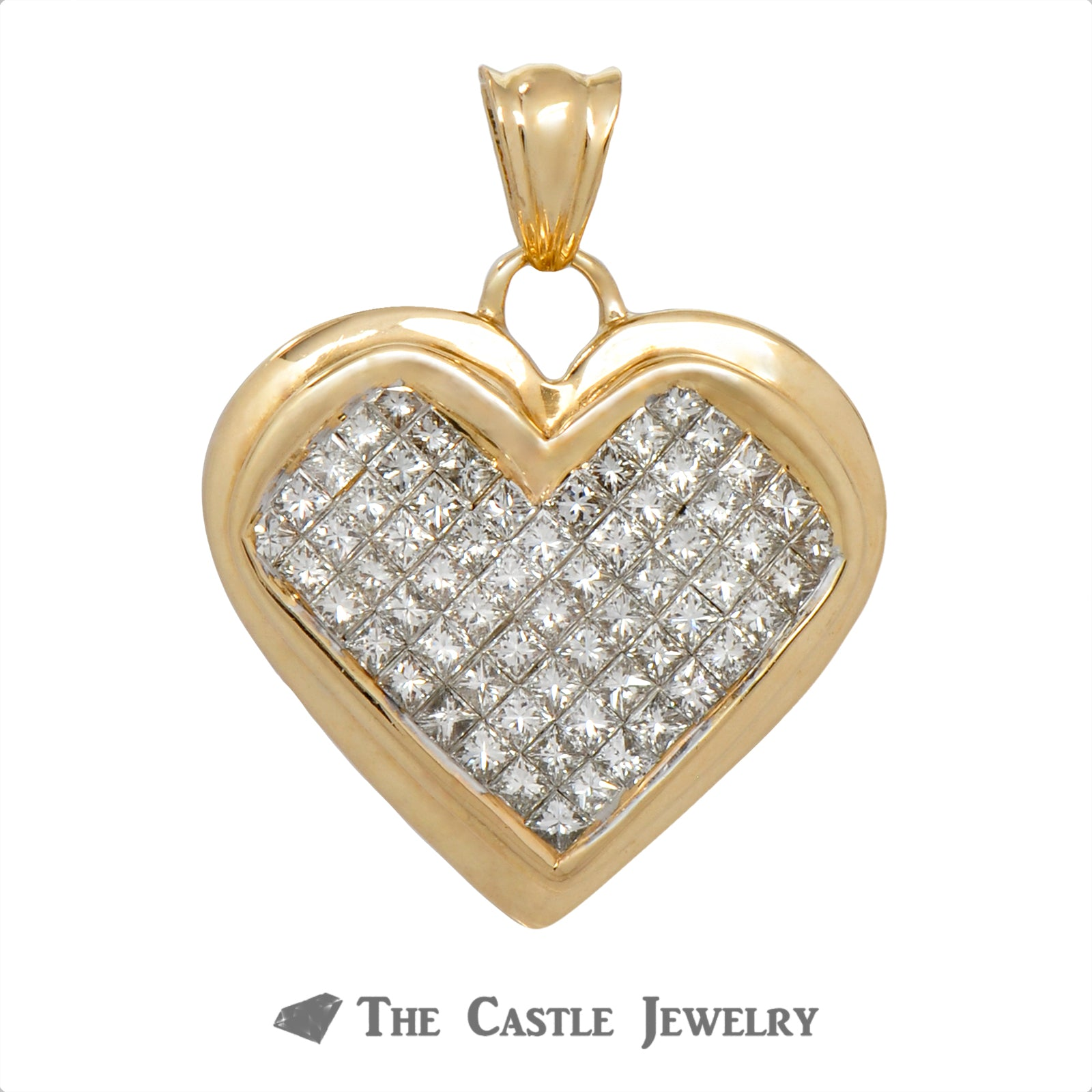 2cttw Heart Shaped Invisible Set Princess Cut Diamond Pendant Crafted in Yellow Gold