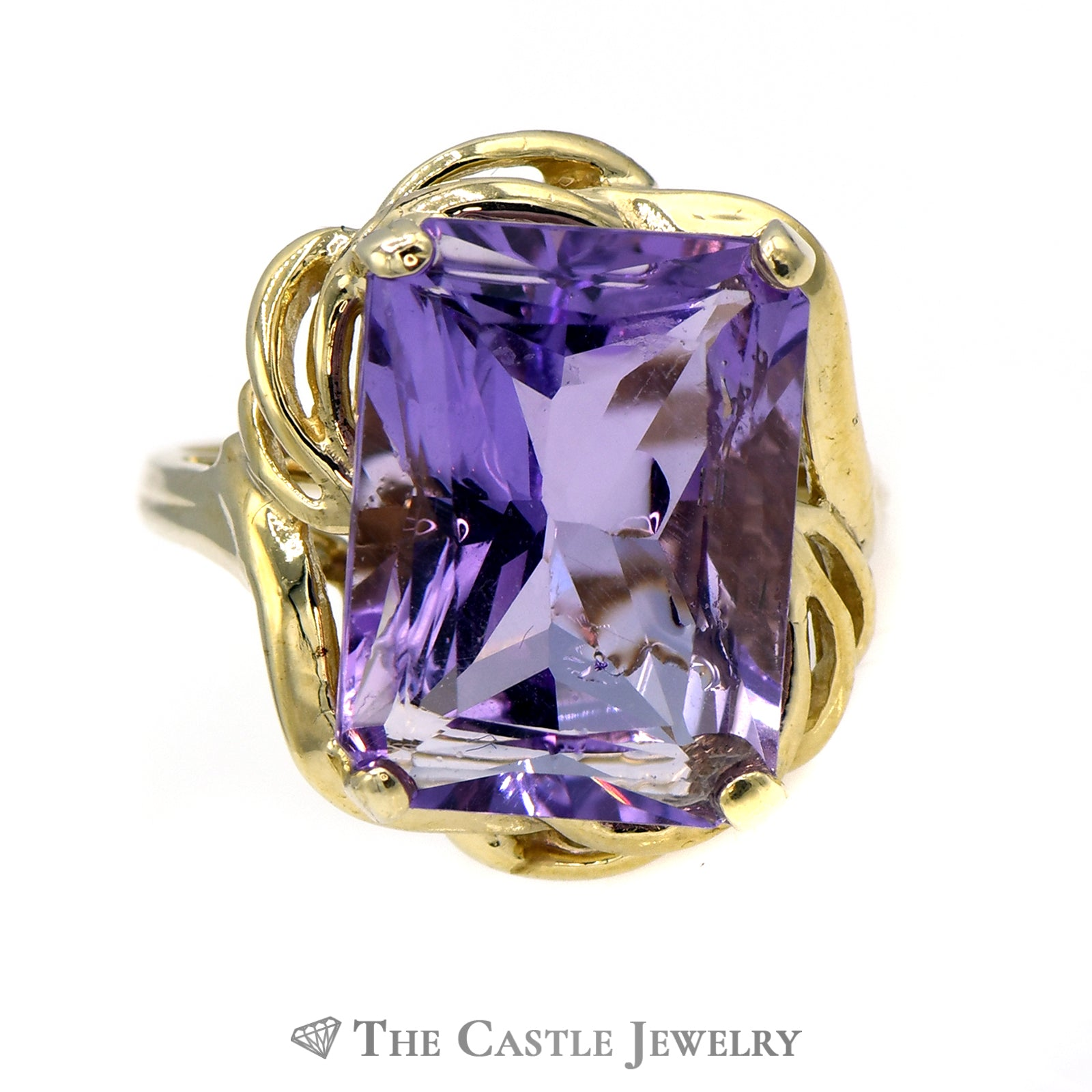 Emerald Cut Amethyst Ring with Swirl Designed 10k Yellow Gold Mounting