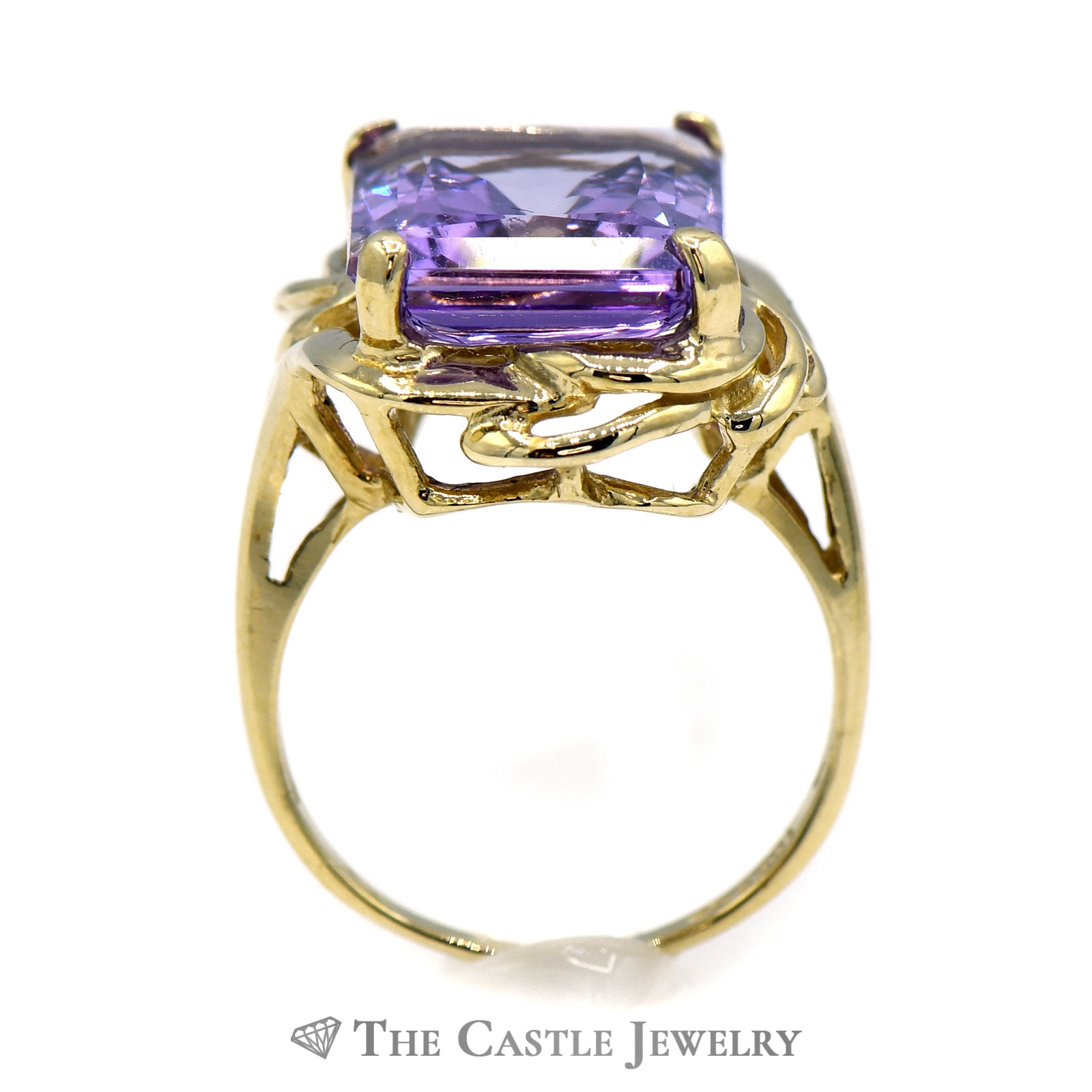 Emerald Cut Amethyst Ring with Swirl Designed 10k Yellow Gold Mounting-1