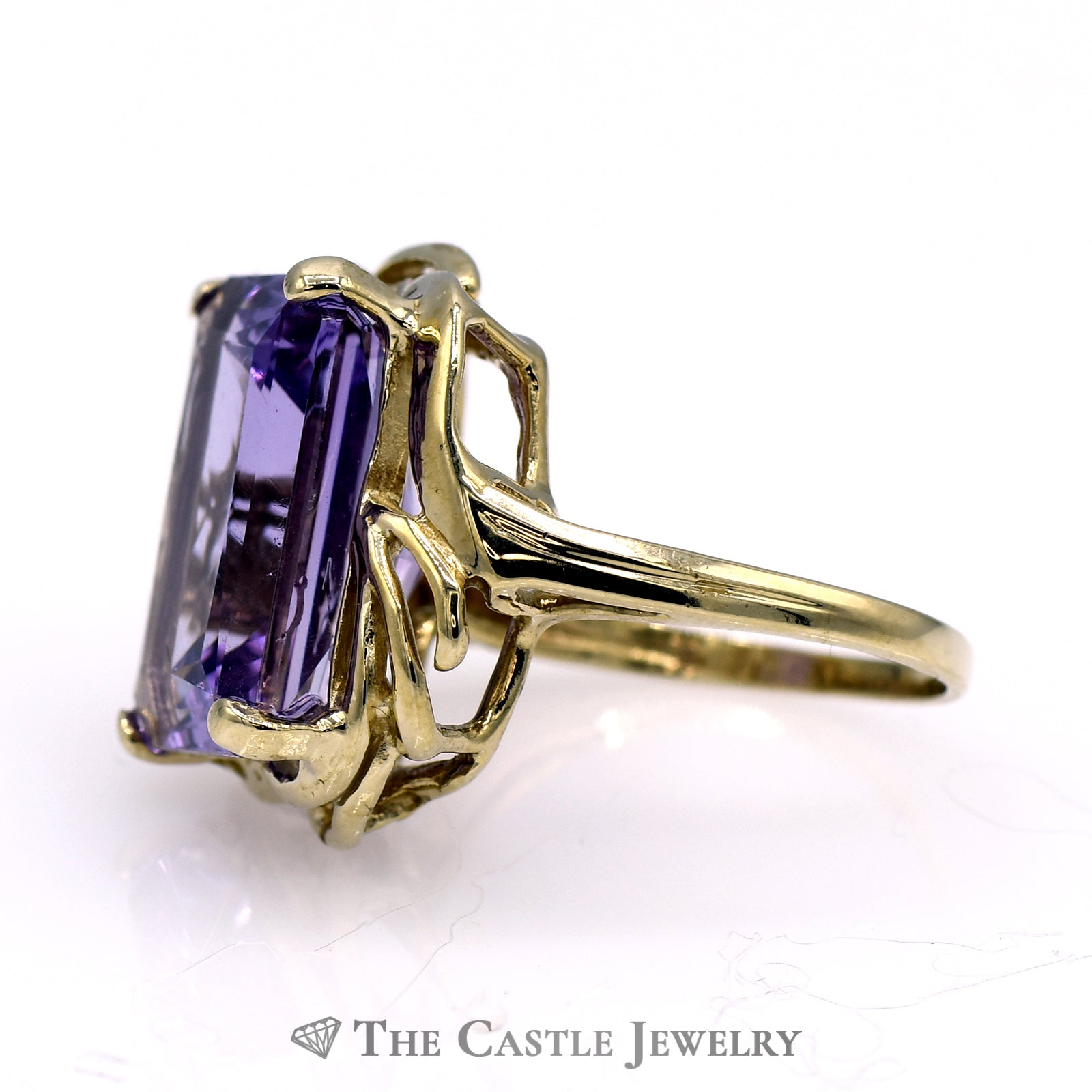 Emerald Cut Amethyst Ring with Swirl Designed 10k Yellow Gold Mounting-2