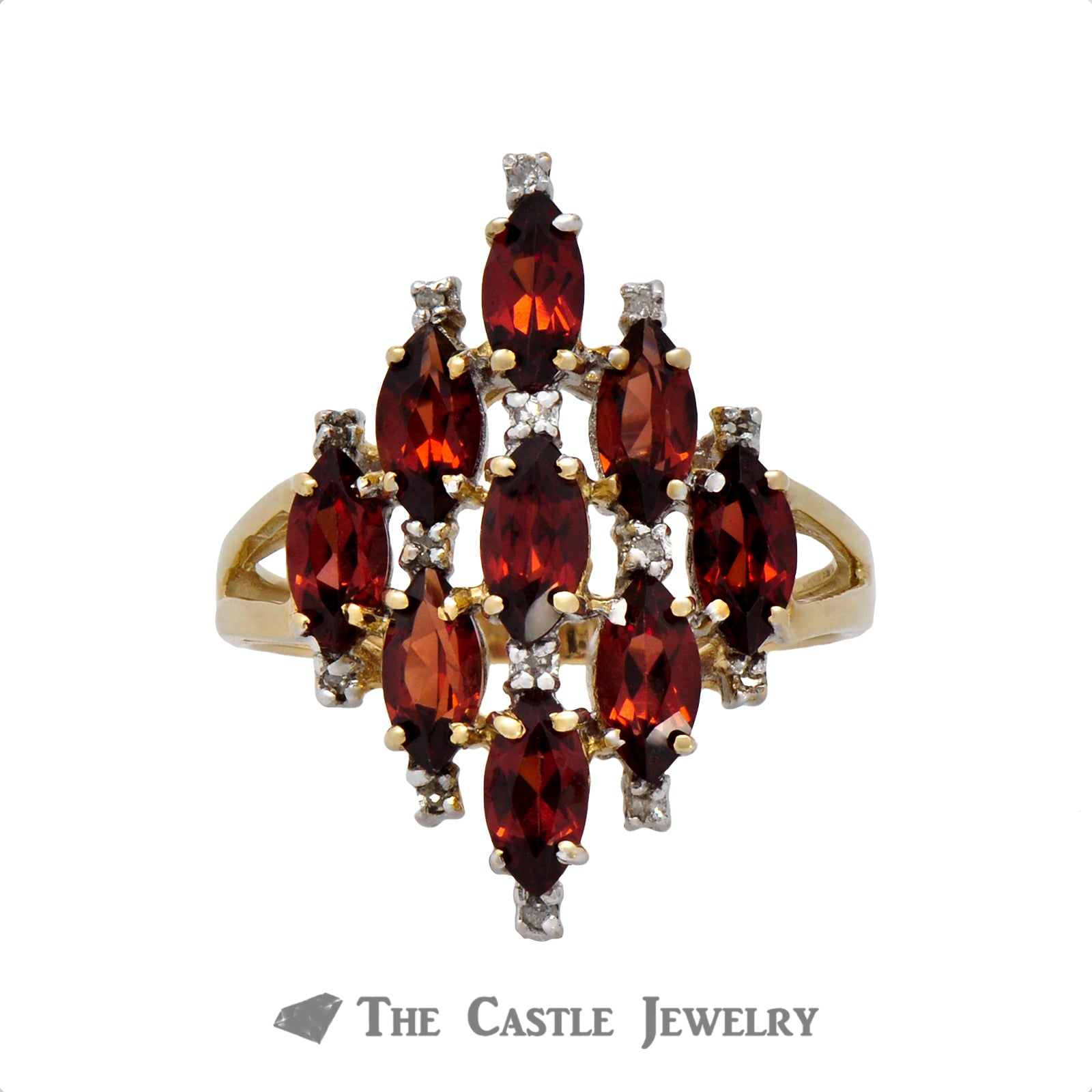 Marquise Shaped Garnet Cluster Ring in 10K Yellow Gold