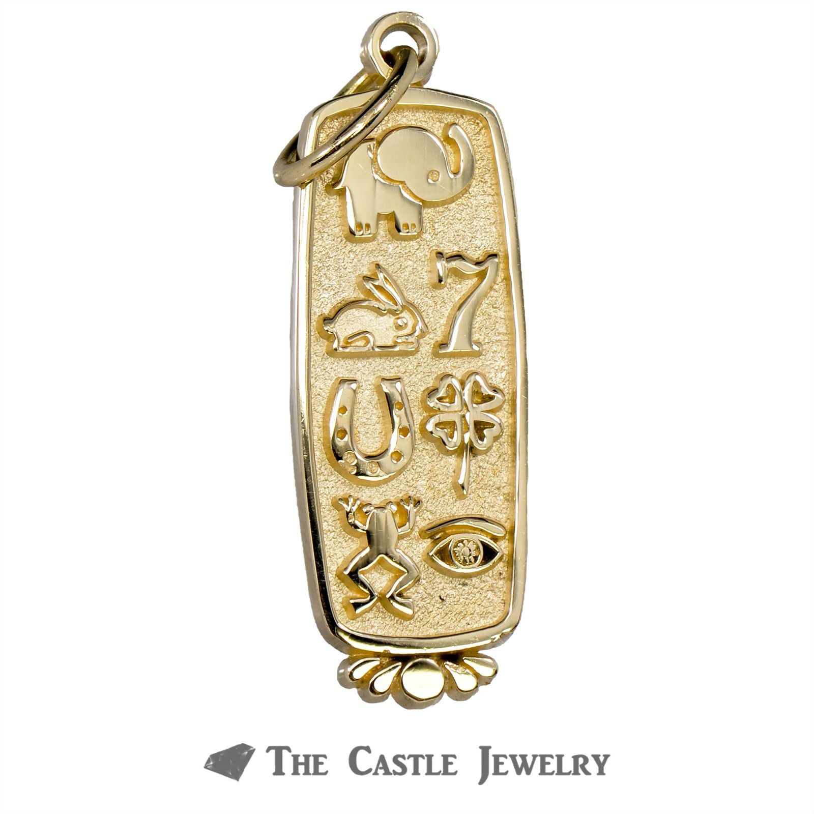 Hieroglyphic Scroll Pendant in 14K Yellow Gold