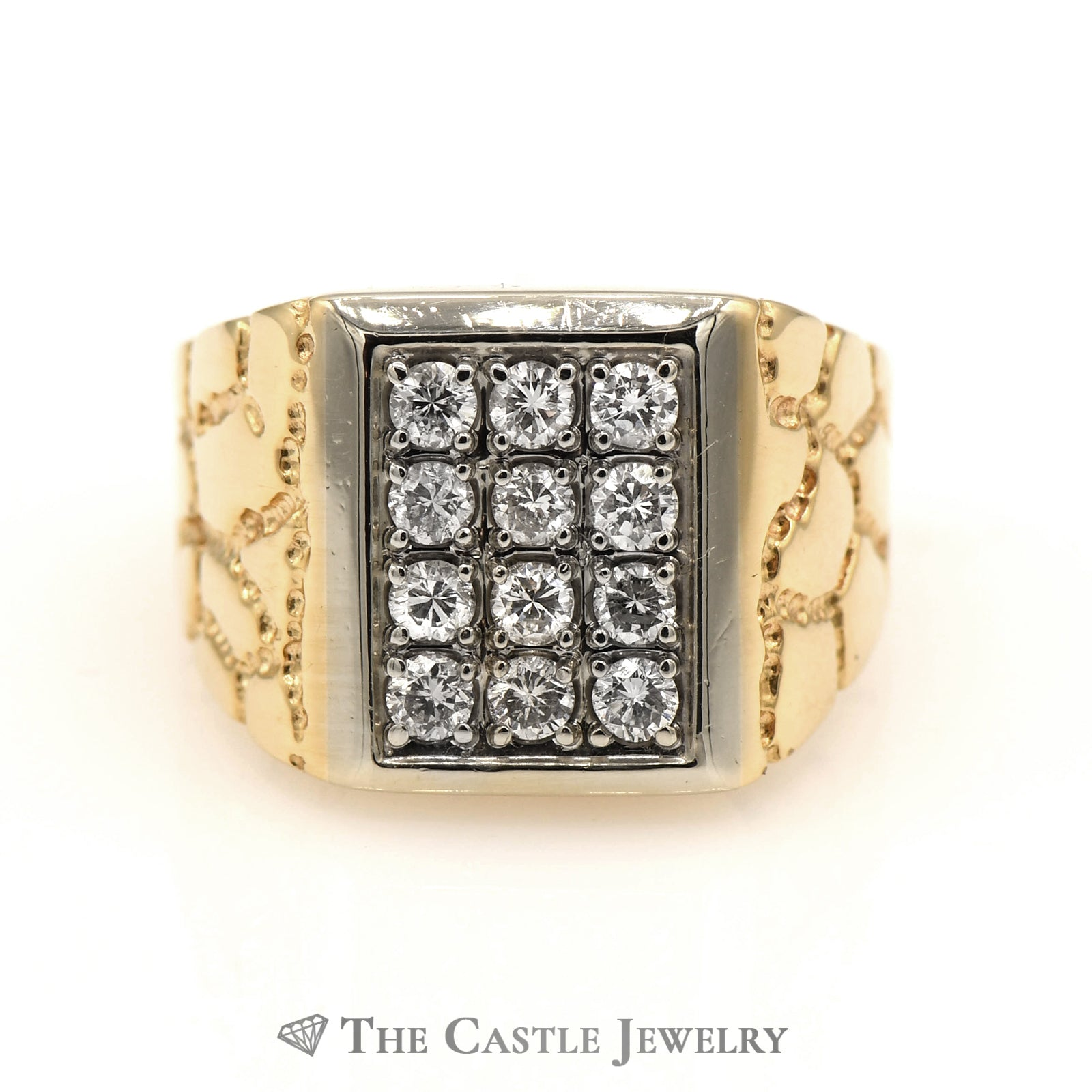 Men's Rectangle Shaped 12 Diamond Cluster Ring in 14k Yellow Gold
