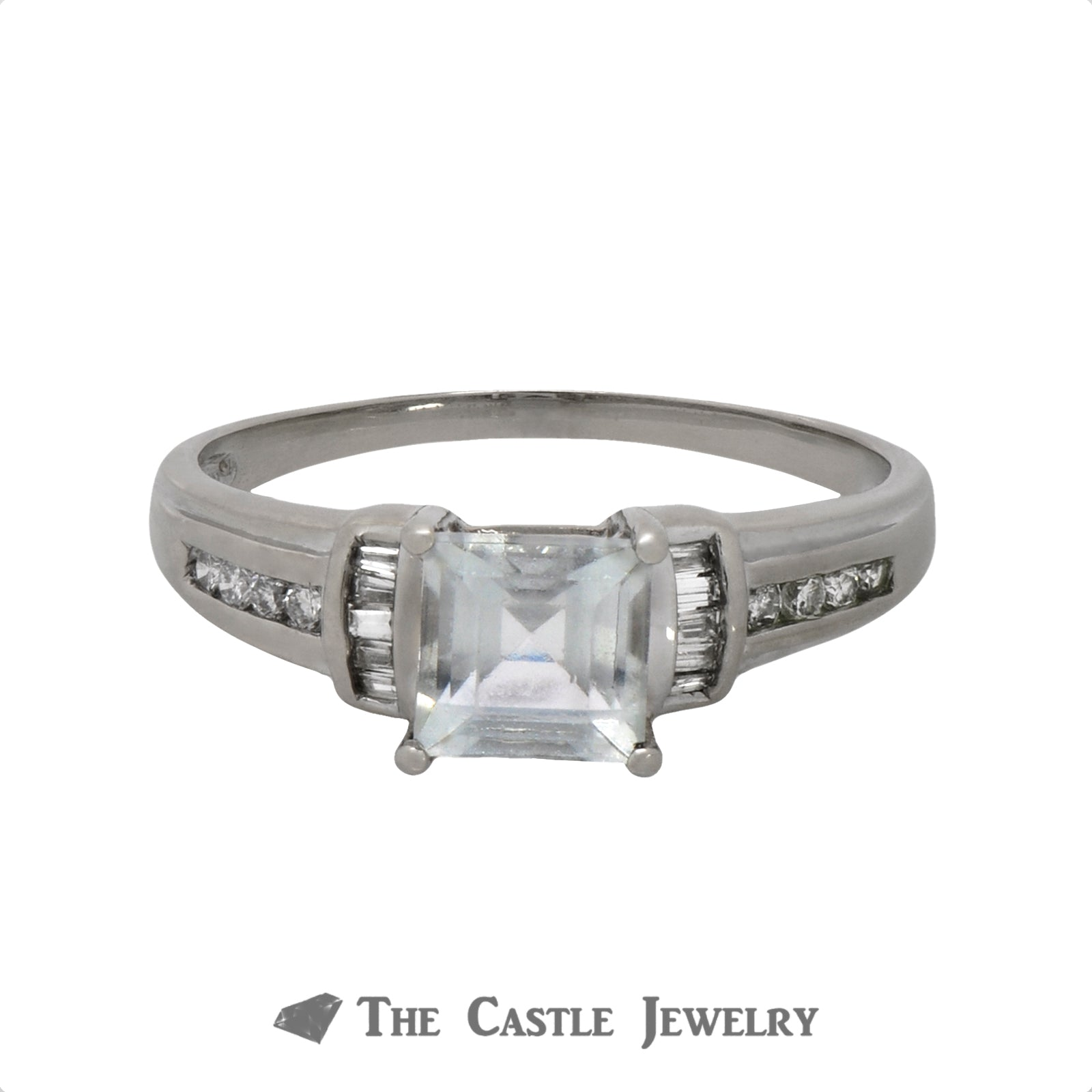 Princess Cut Aquamarine Ring with .25cttw Baguette & Round Diamond Accents in 14k White Gold-0