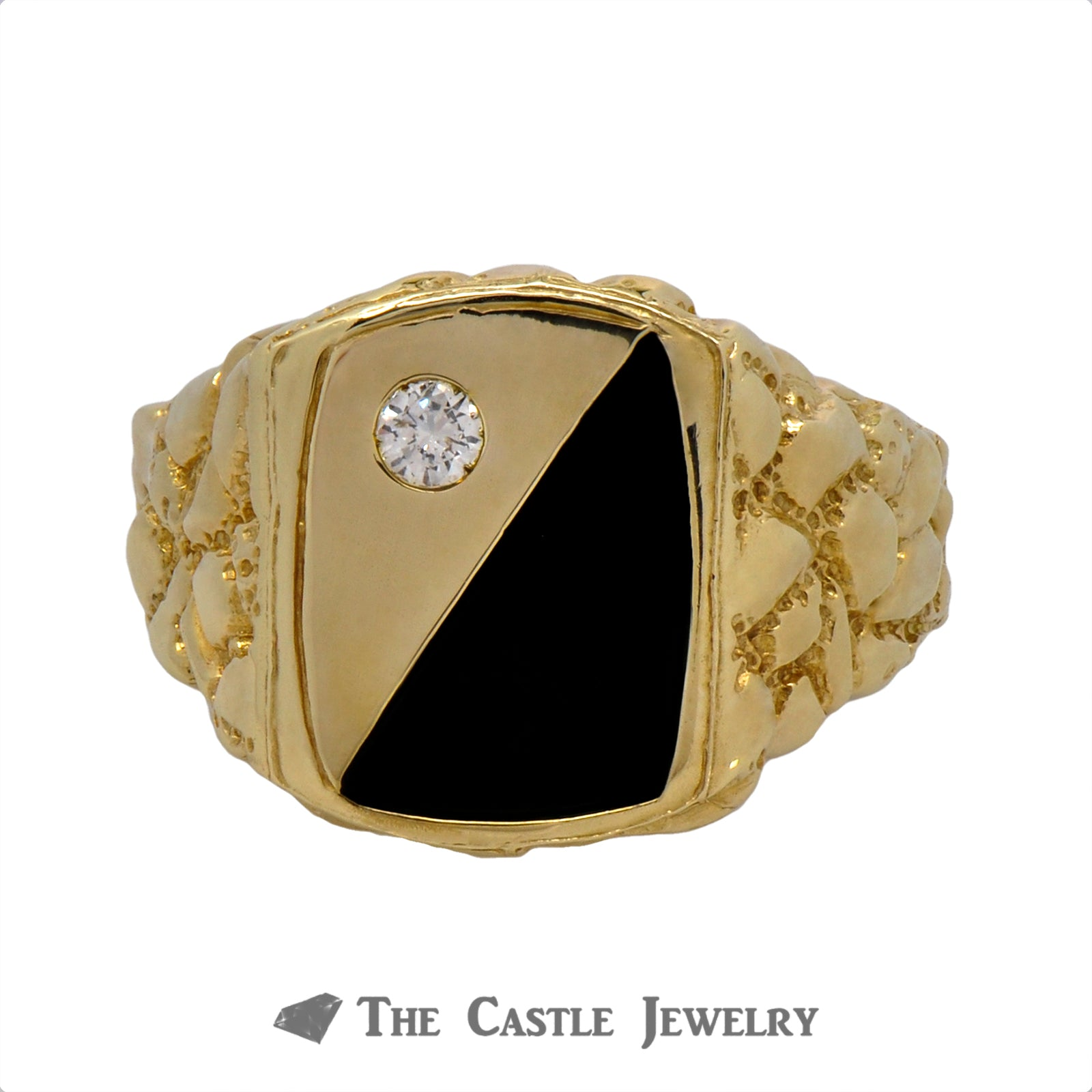 Men's Diamond & Onyx Ring in 10k Yellow Gold Mounting with Nugget Sides