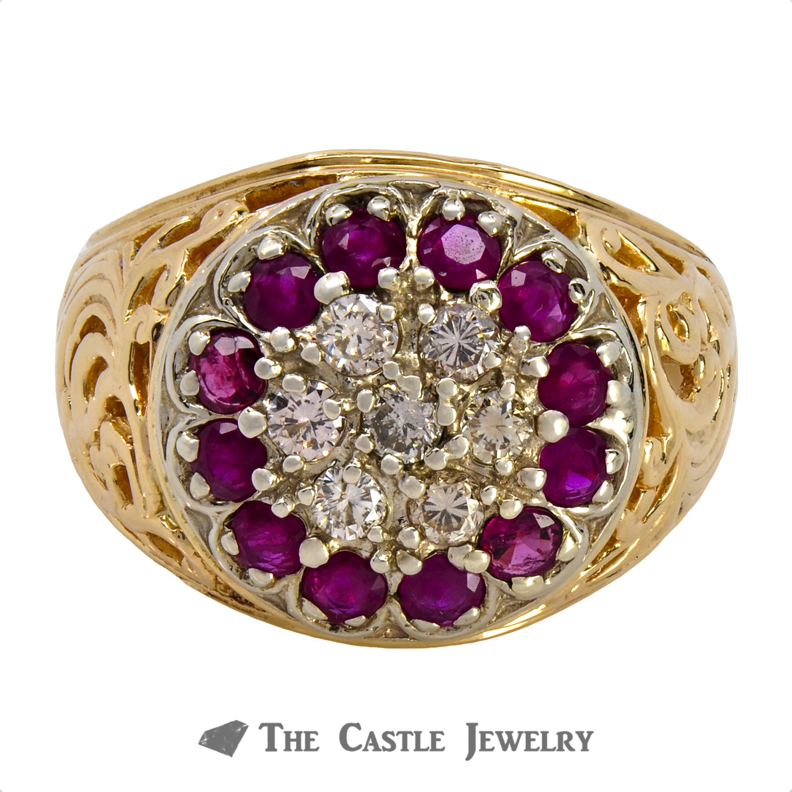 Gent's Round .50cttw Diamond & Ruby Kentucky Cluster w/ Scroll Design Sides in 14k Yellow Gold