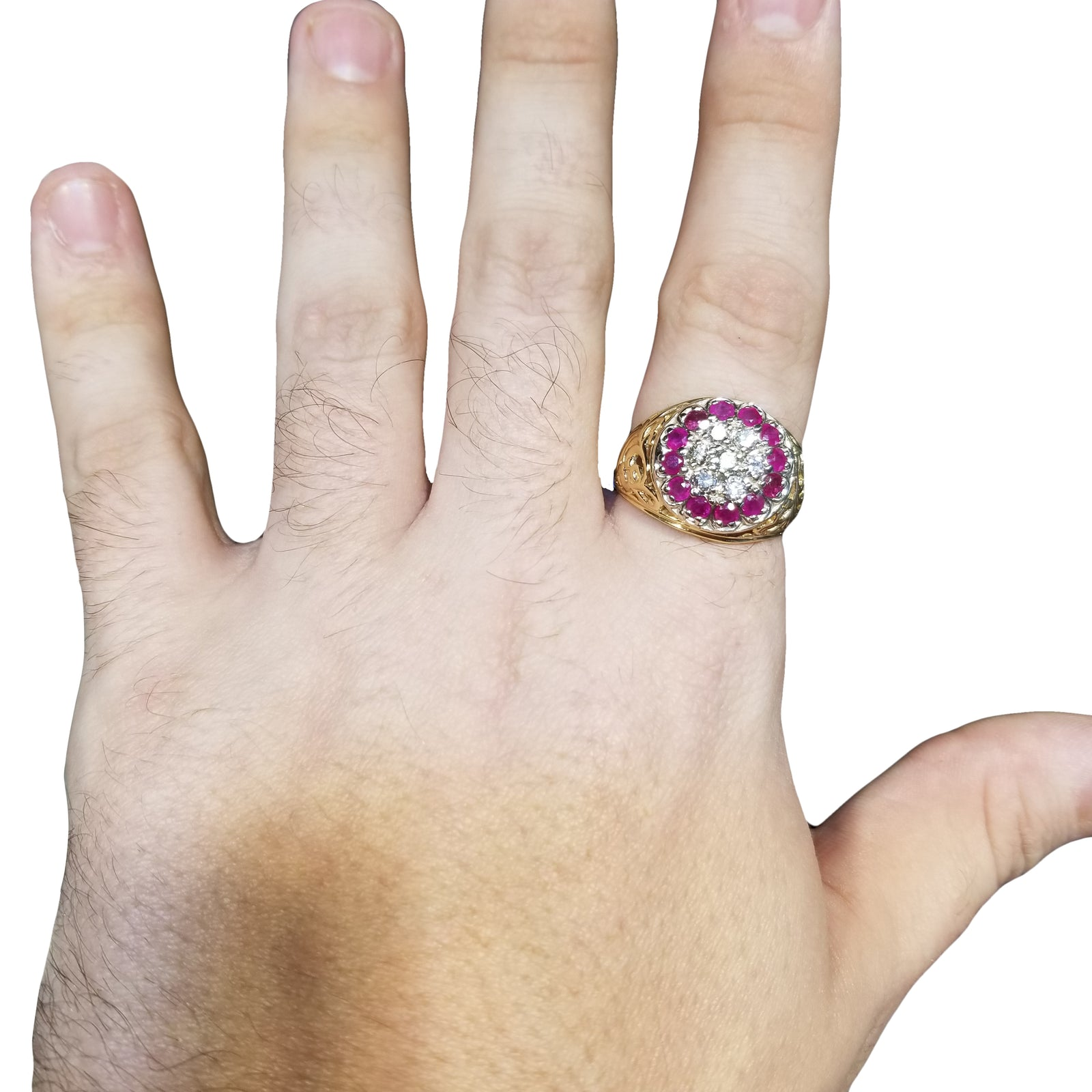 Gent's Round .50cttw Diamond & Ruby Kentucky Cluster w/ Scroll Design Sides in 14k Yellow Gold-3