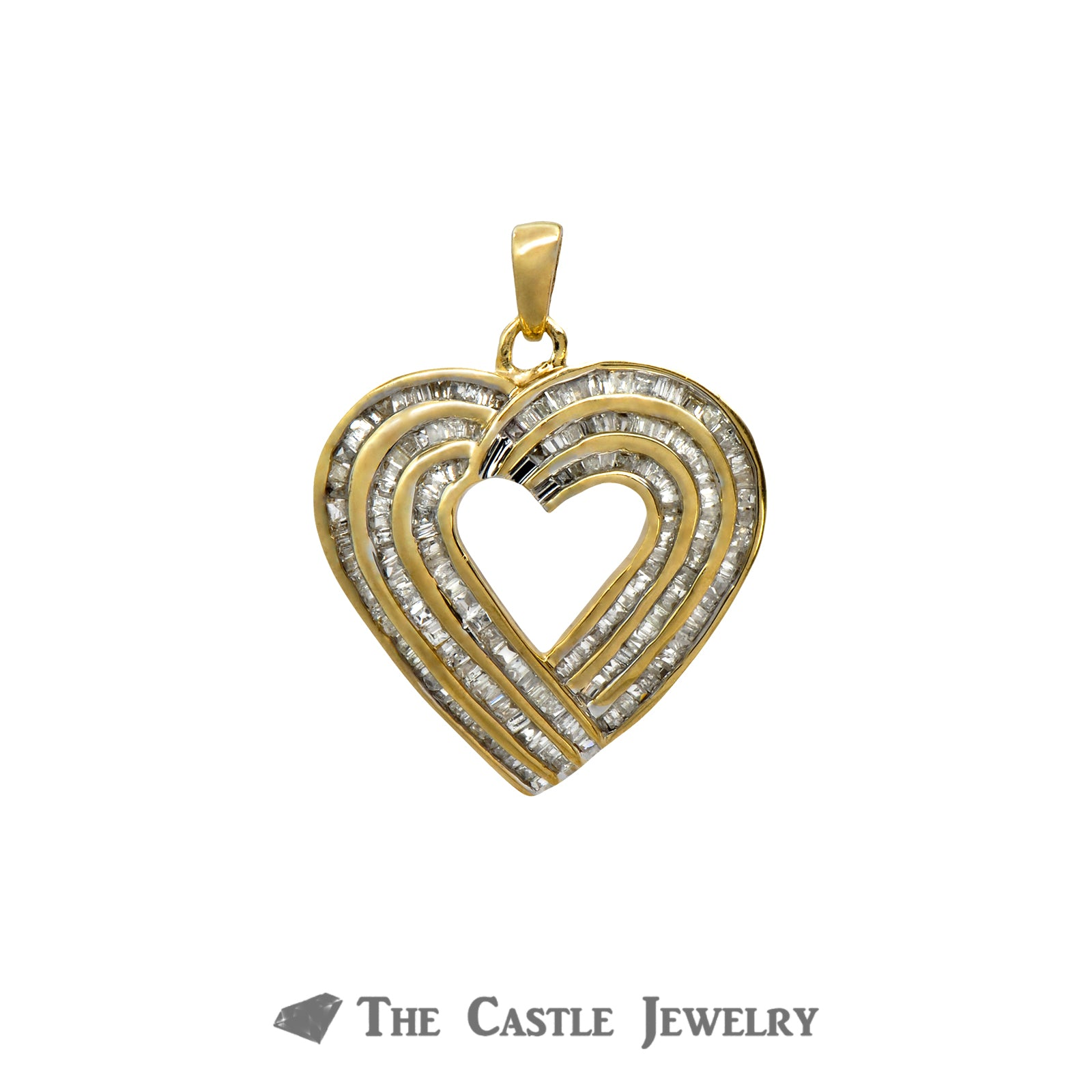 Heart Pendant with 3 Rows of 1cttw Channel Set Baguette Cut Diamonds in 10k Yellow Gold