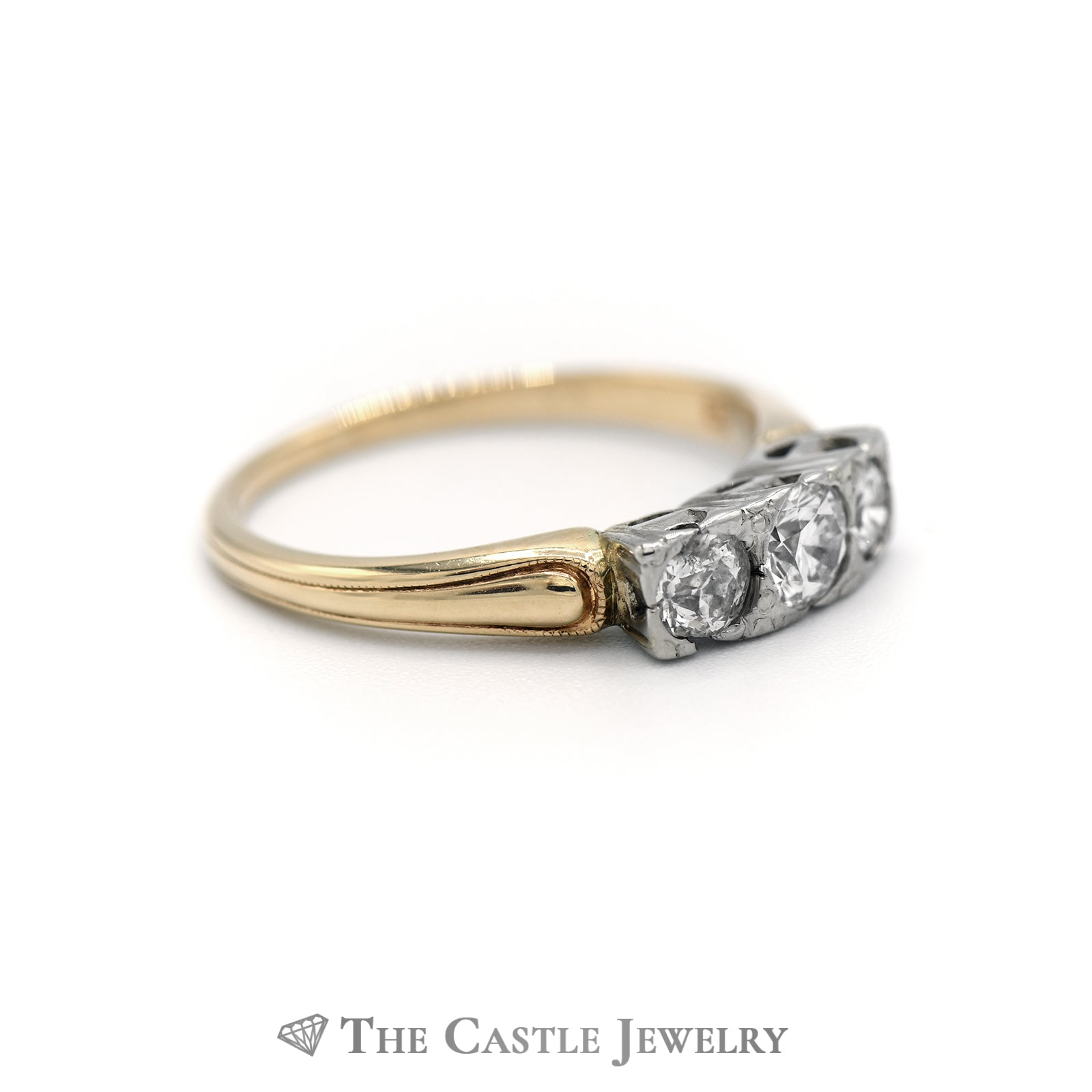 Past, Present, Future Diamond Ring .75CTTW 14KT Yellow Gold-2