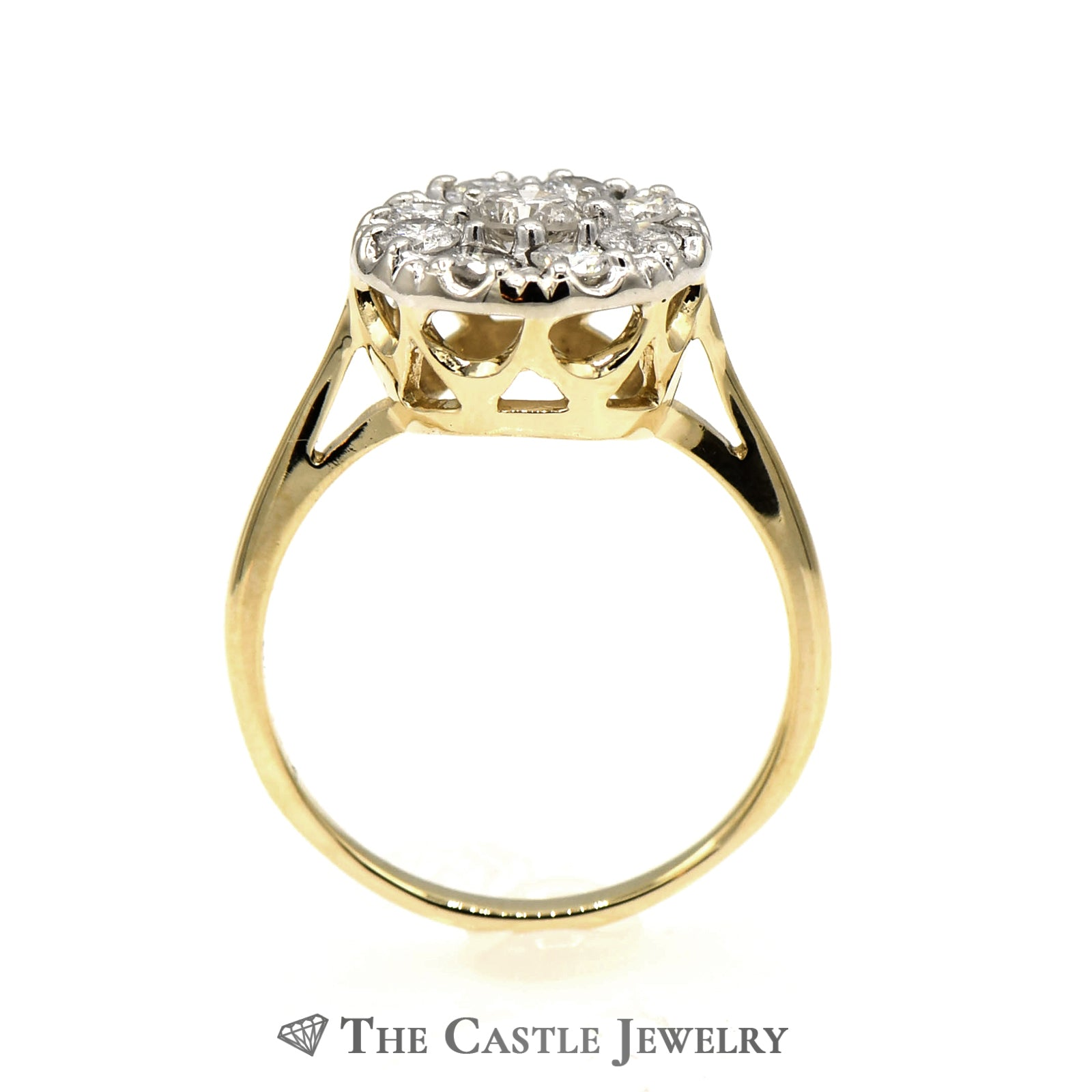 9 Diamond 1cttw Round Cluster Ring in 14K Yellow Gold-1