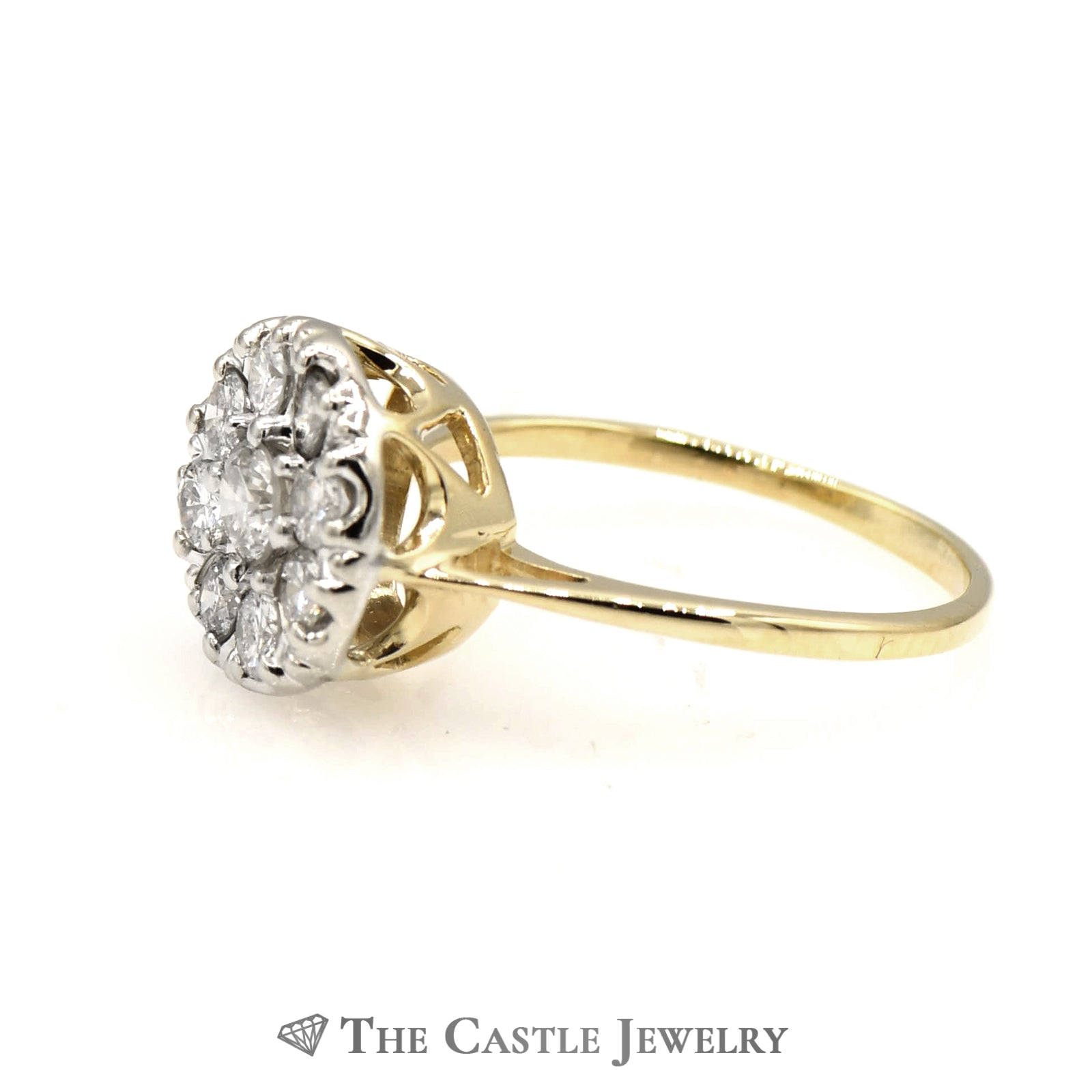 9 Diamond 1cttw Round Cluster Ring in 14K Yellow Gold-2